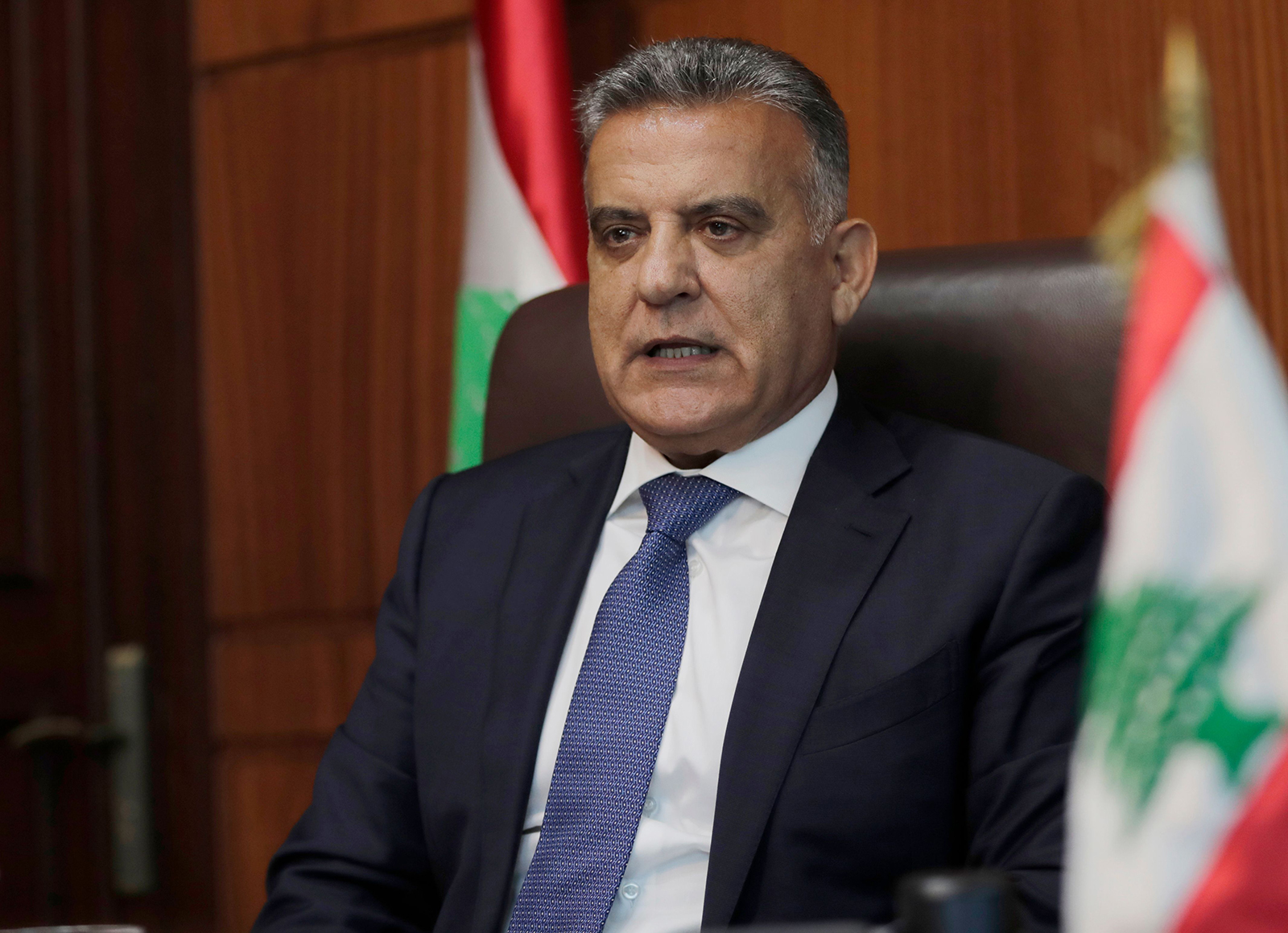 The head of Lebanon's General Security apparatus, Abbas Ibrahim, speaks during an interview at his office in the capital Beirut on July 22.