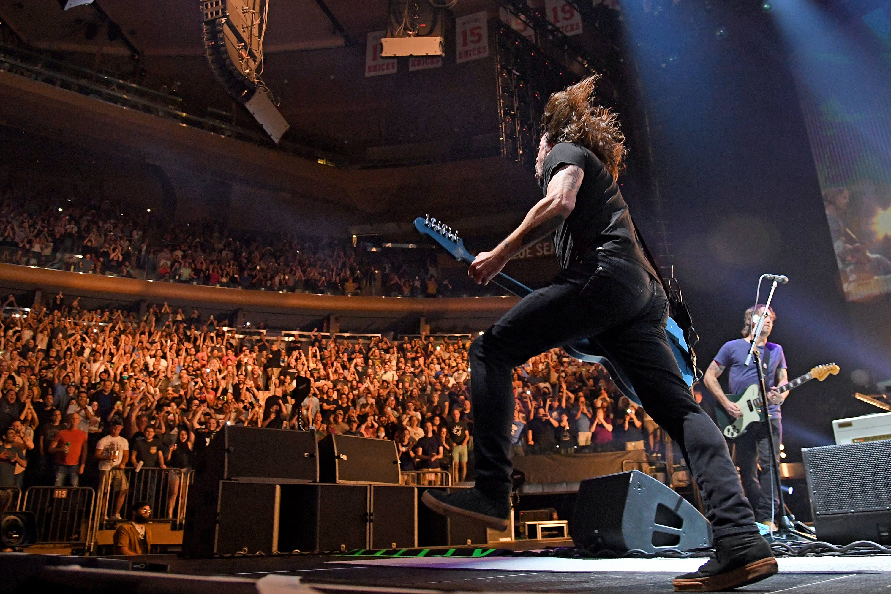 Dave Grohl performs onstage as The Foo Fighters reopen Madison Square Garden on June 20 in New York City.