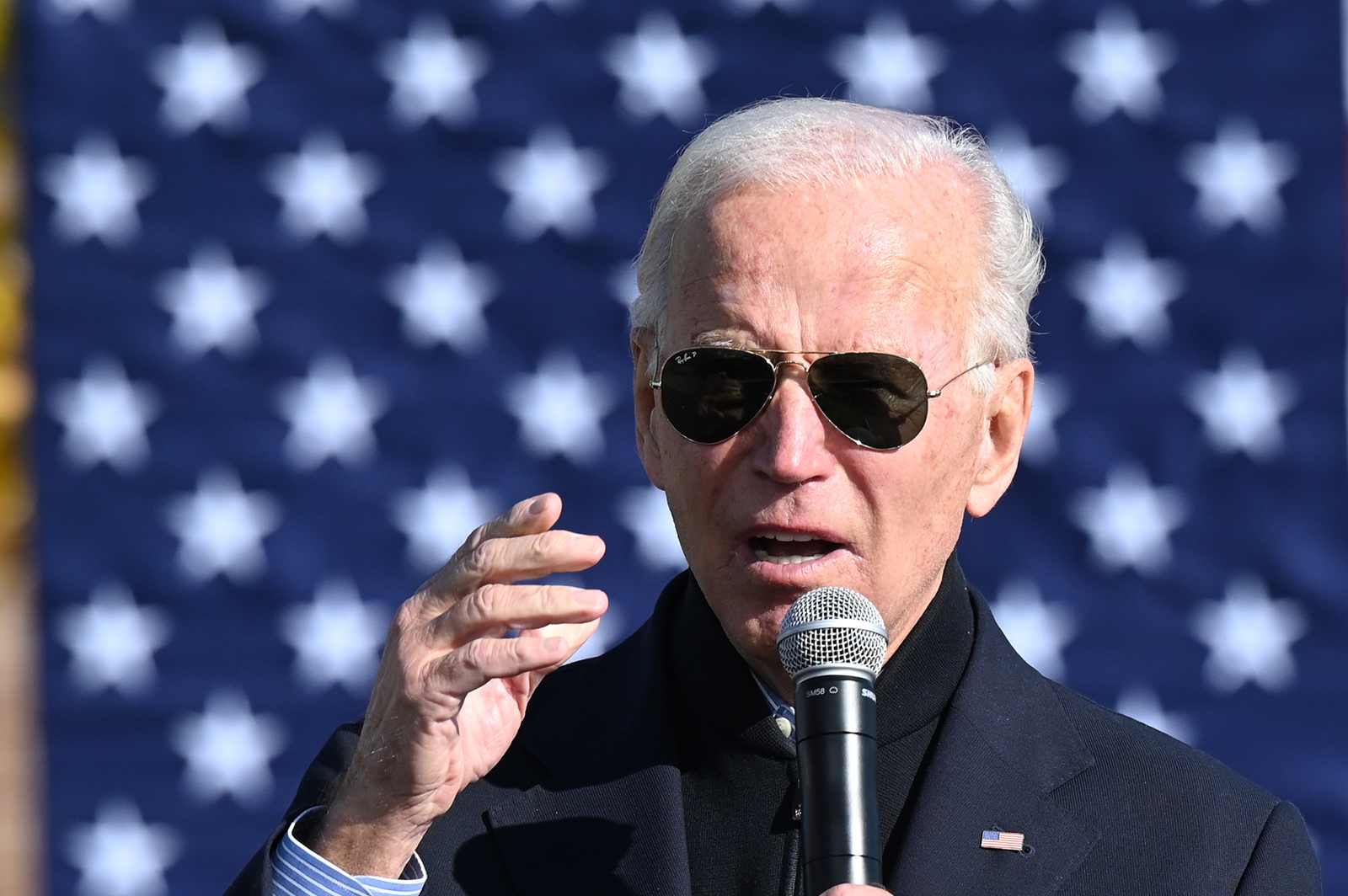 Democratic presidential candidate Joe Biden speaks at a campaign event in Flint, Michigan, on October 31.