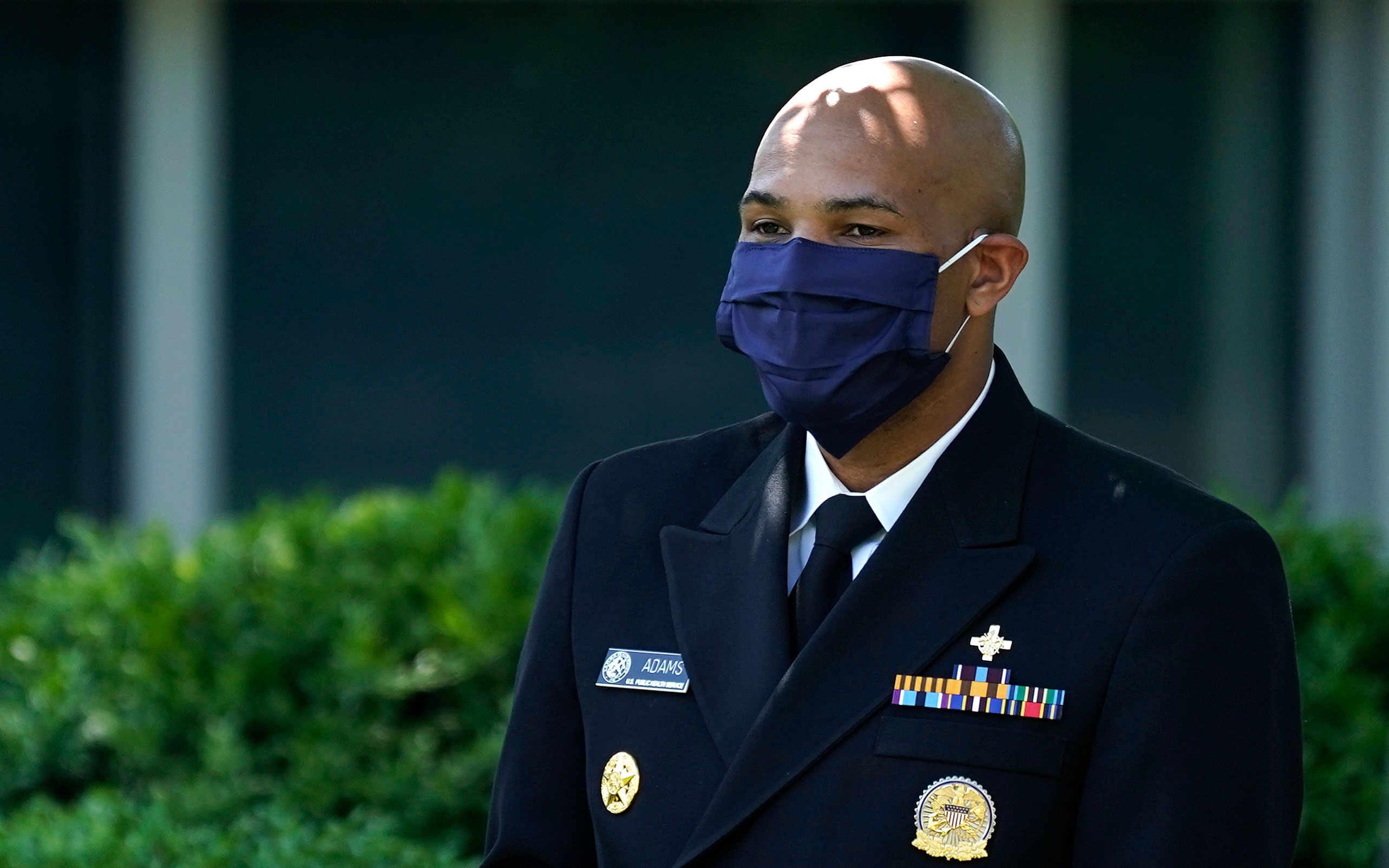 US Surgeon General Jerome Adams attends a news conference in the Rose Garden of the White House on May 15 in Washington, DC.