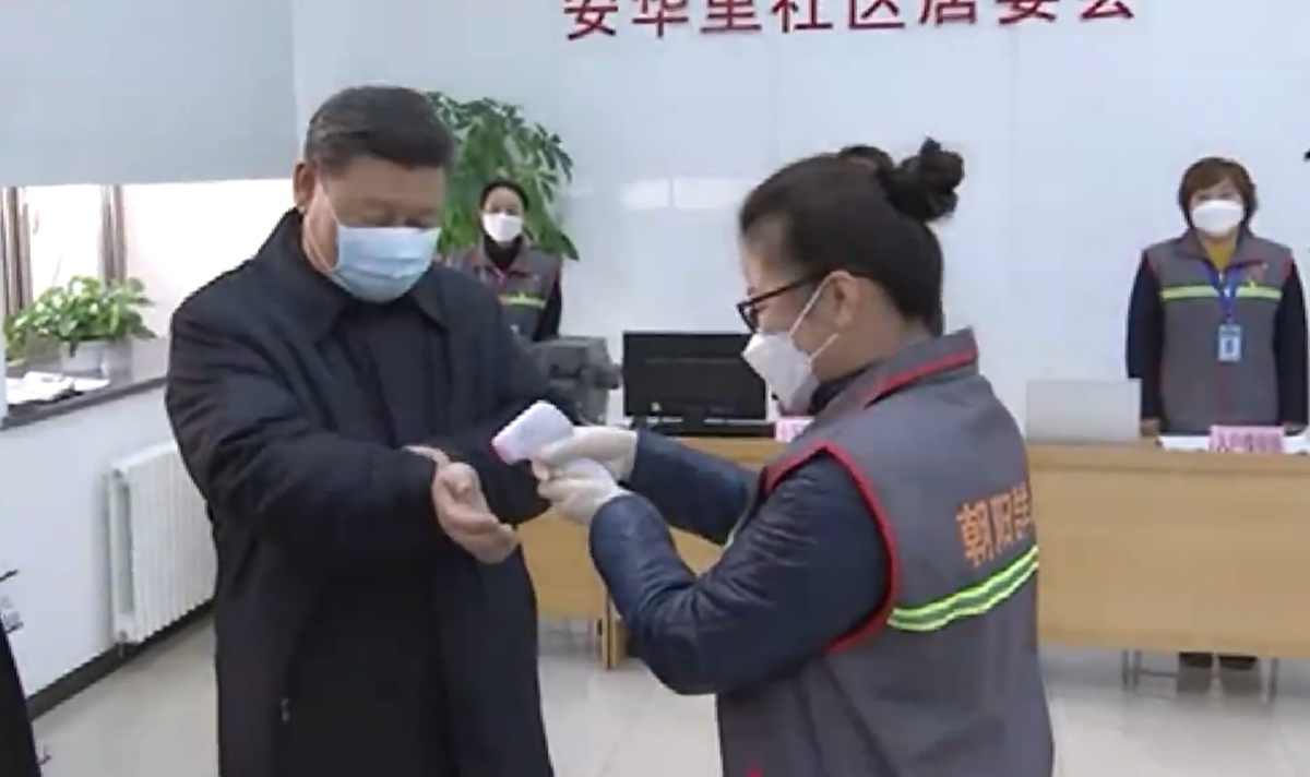 Chinese President Xi Jinping inspects efforts to contain the Wuhan coronavirus in Beijing on February 10, 2020.