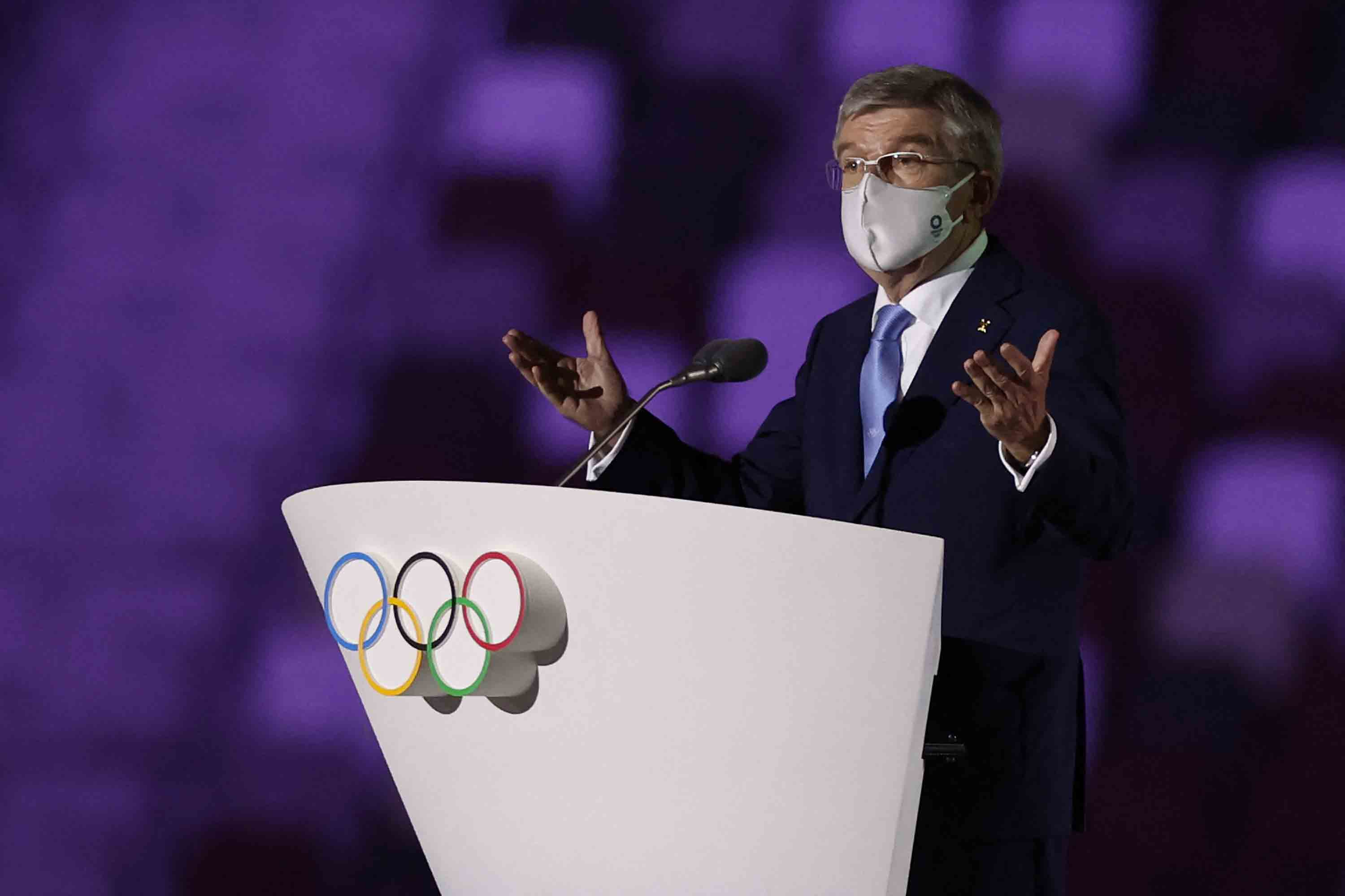 President of the International Olympic Committee (IOC) Thomas Bach speaksduring the Opening Ceremony.