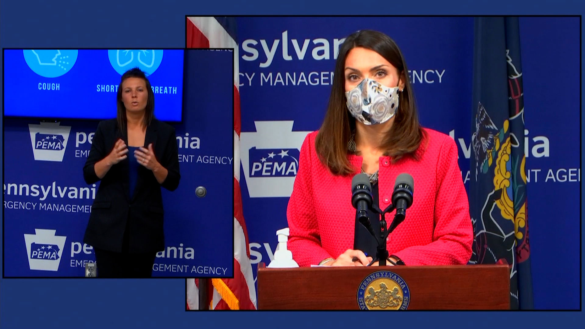 Acting Health Secretary Alison Beam, right, speaks during a news conference on Thursday.