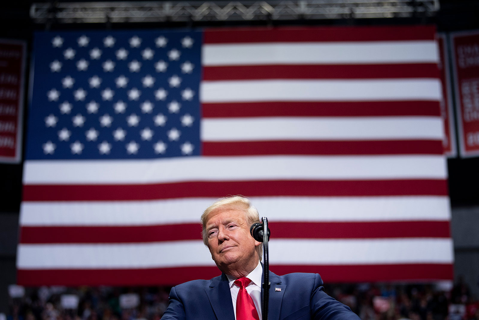 In this March 2, 2020 photo, US President Donald Trump speaks during a rally at Bojangles' Coliseum in Charlotte, North Carolina.