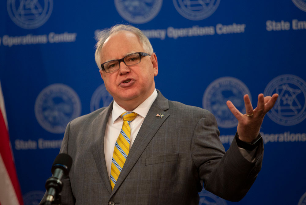 Minnesota Gov. Tim Walz provides an update on the state's response to the coronavirus at JBS Pork processing plant during a news conference in St. Paul, Minnesota. on Friday, April 17.