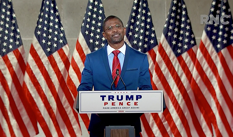 Former NFL athlete Jack Brewer addresses the virtual Republican National Convention, on August 26.  President Trump intends to make Brewer a member of the Commission on the Social Status of Black Men and Boys.