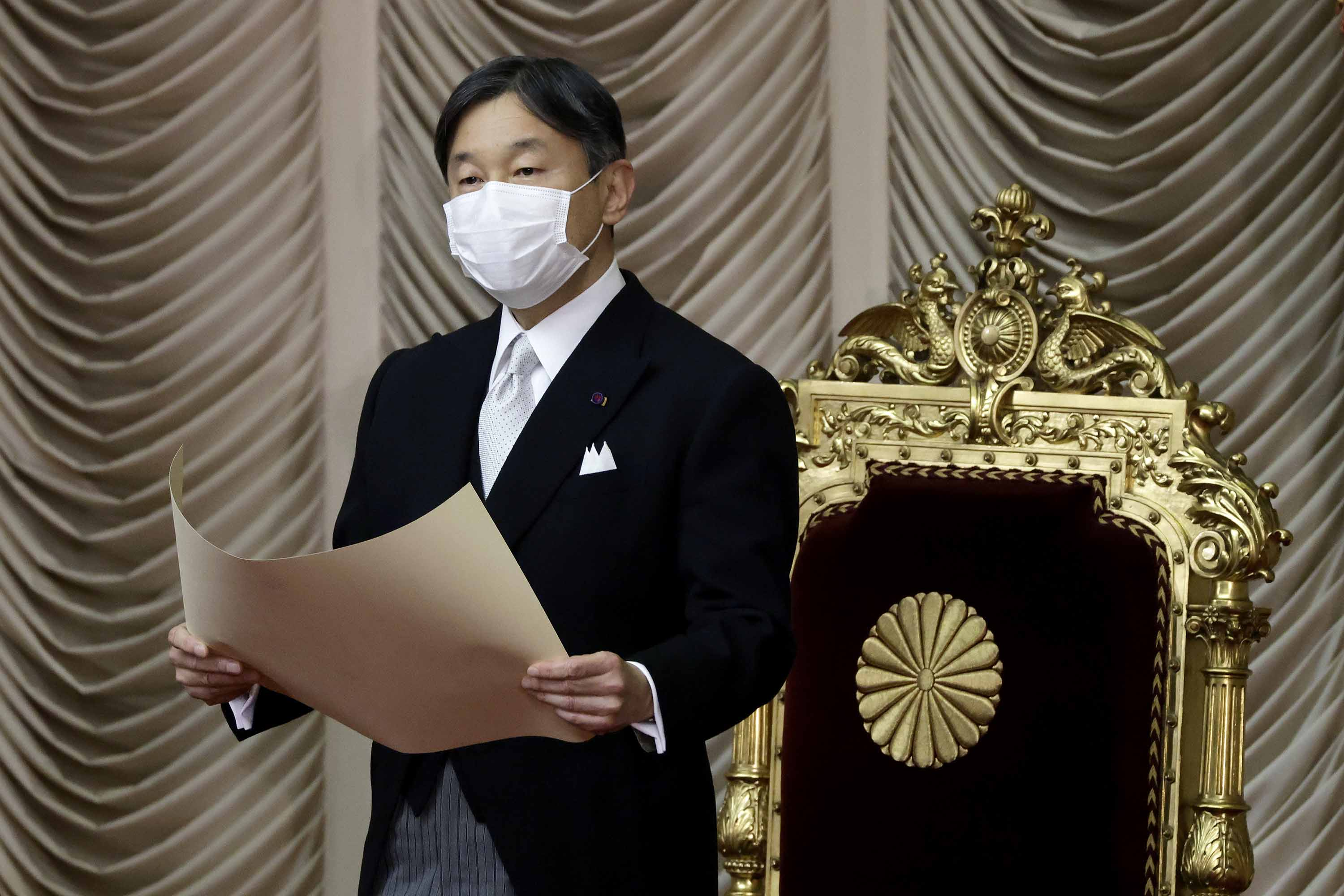 Japan's Emperor Naruhito is pictured at the opening of a session at the upper house of parliament in Tokyo, Japan, on January 18.