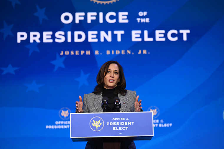 US Vice President-elect Kamala Harris on January 16, 2021, at The Queen theater in Wilmington, Delaware.