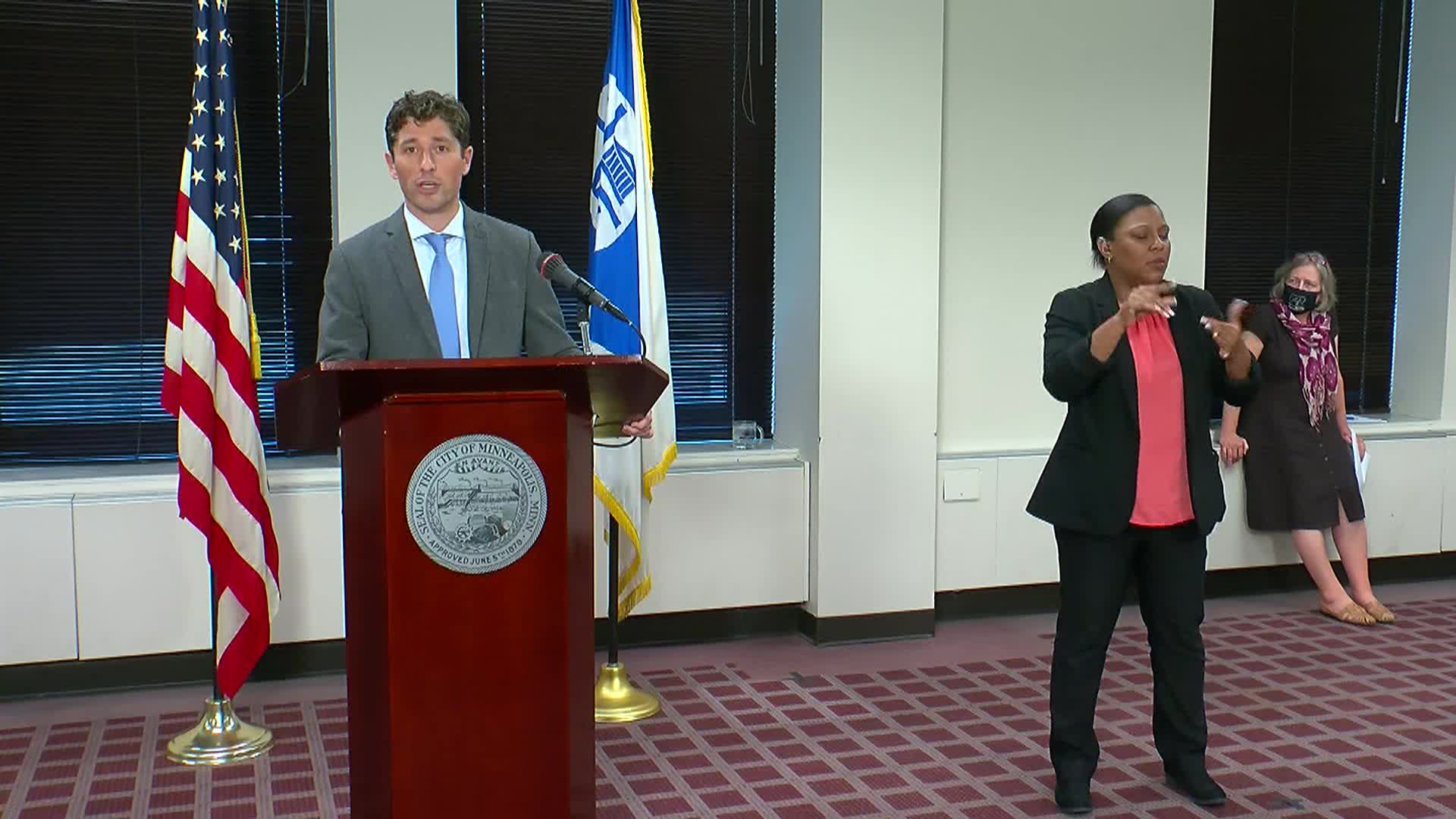 Minneapolis Mayor Jacob Frey speaks during a press conference in Minneapolis on July 29.