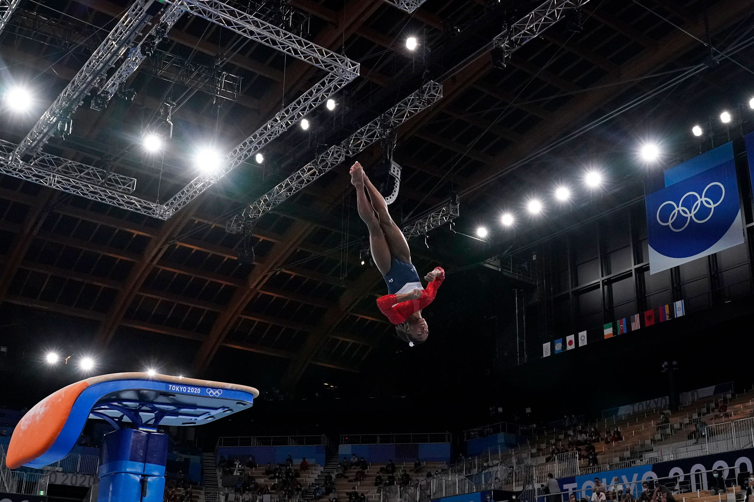 American gymnast Simone Biles performs on the vault during the artistic gymnastics final on July 27.