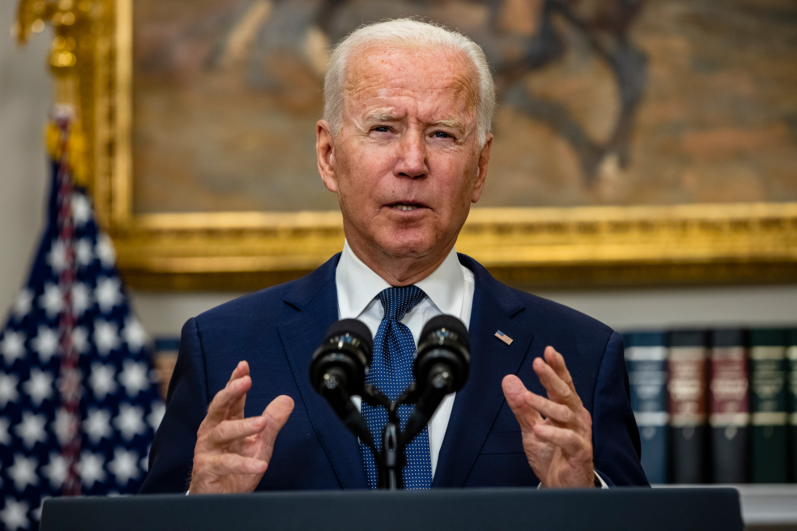 President Joe Biden speaks in the Roosevelt Room on the continuing situation in Afghanistan and the developments of Hurricane Henri at the White House on August 22 in Washington.