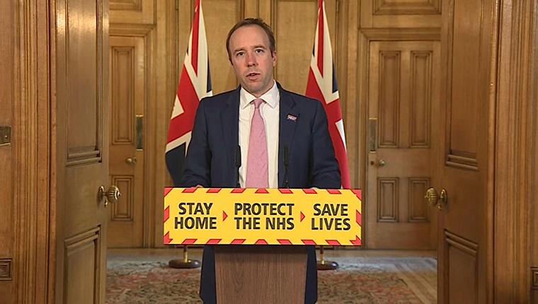 Health Secretary Matt Hancock speaking during a media briefing in Downing Street, London, on coronavirus on Friday April 3.
