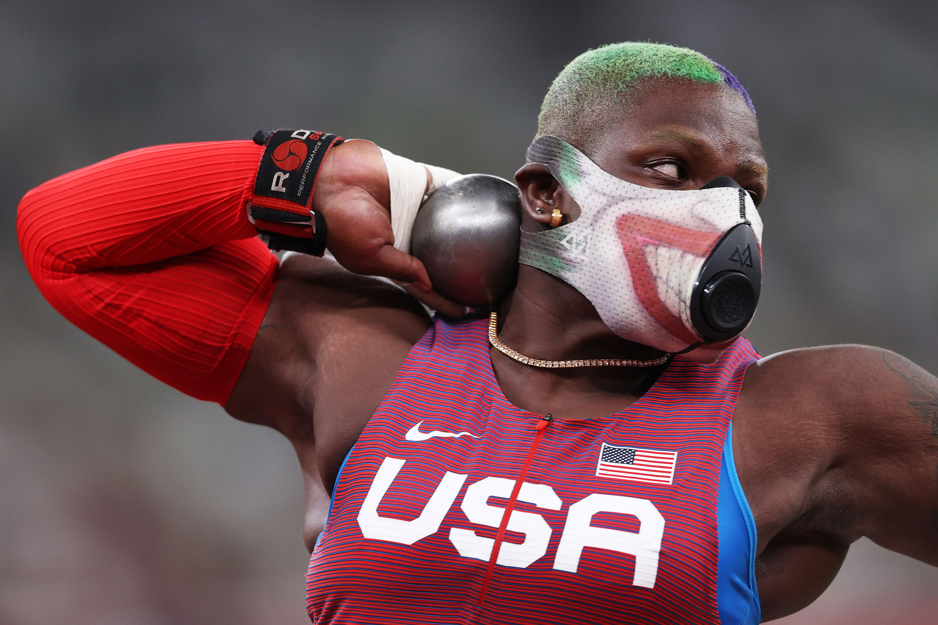 American Raven Saunders competes in the shot put qualification on July 30.
