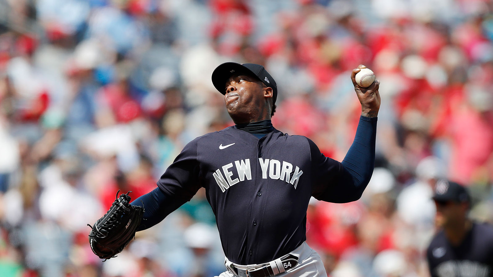 New York Yankees pitcher Aroldis Chapman throws during a spring training game in March.