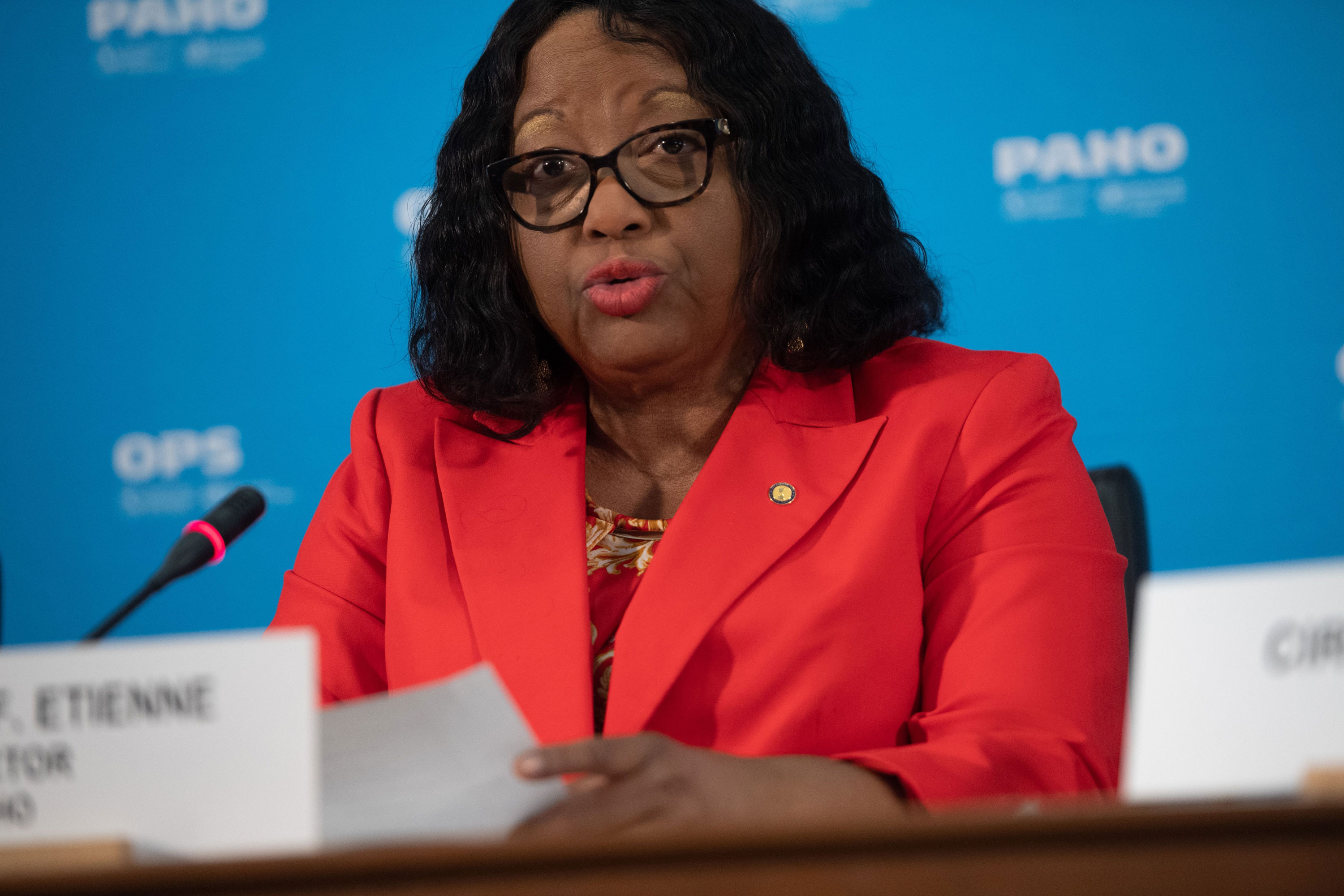 Dr. Carissa Etienne, director of the Pan American Health Organization, speaks about the coronavirus during a press briefing at PAHO Headquarters in Washington, DC, March 6.