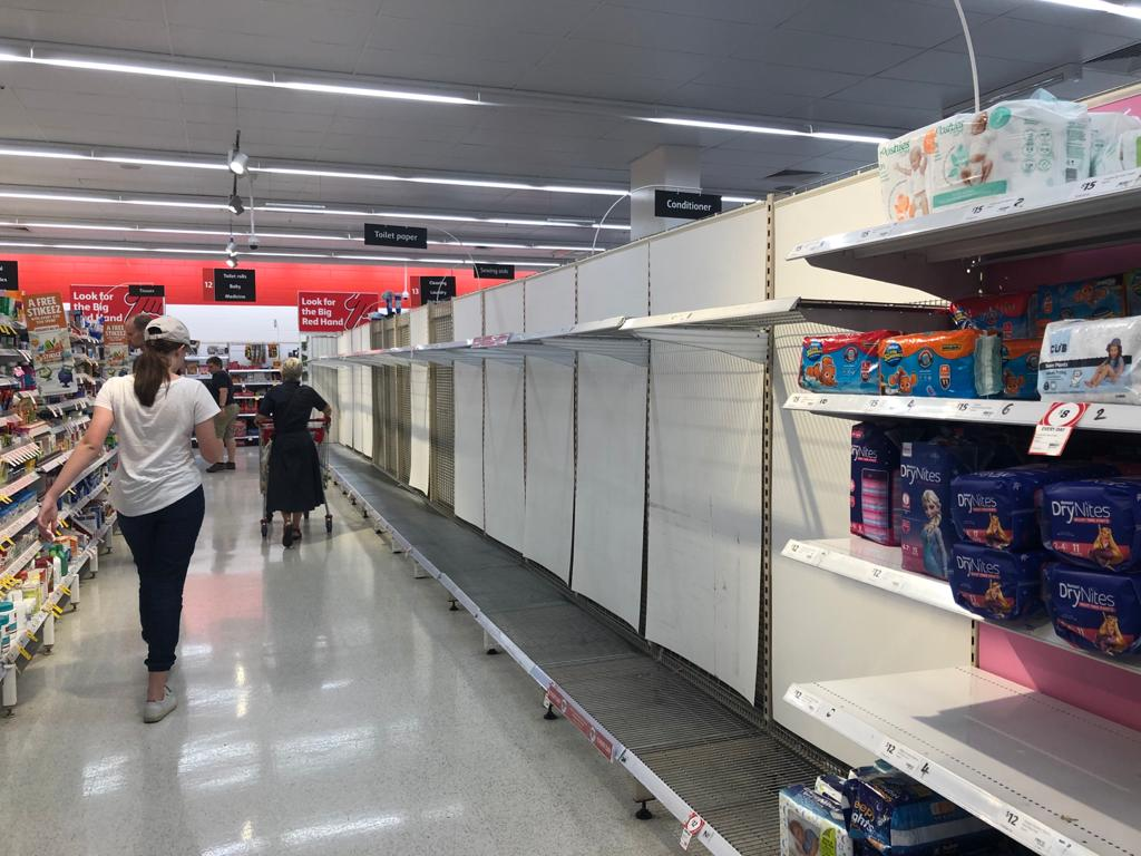 No toilet paper in sight at Coles supermarket at Greenslopes Mall in Brisbane, Australia.