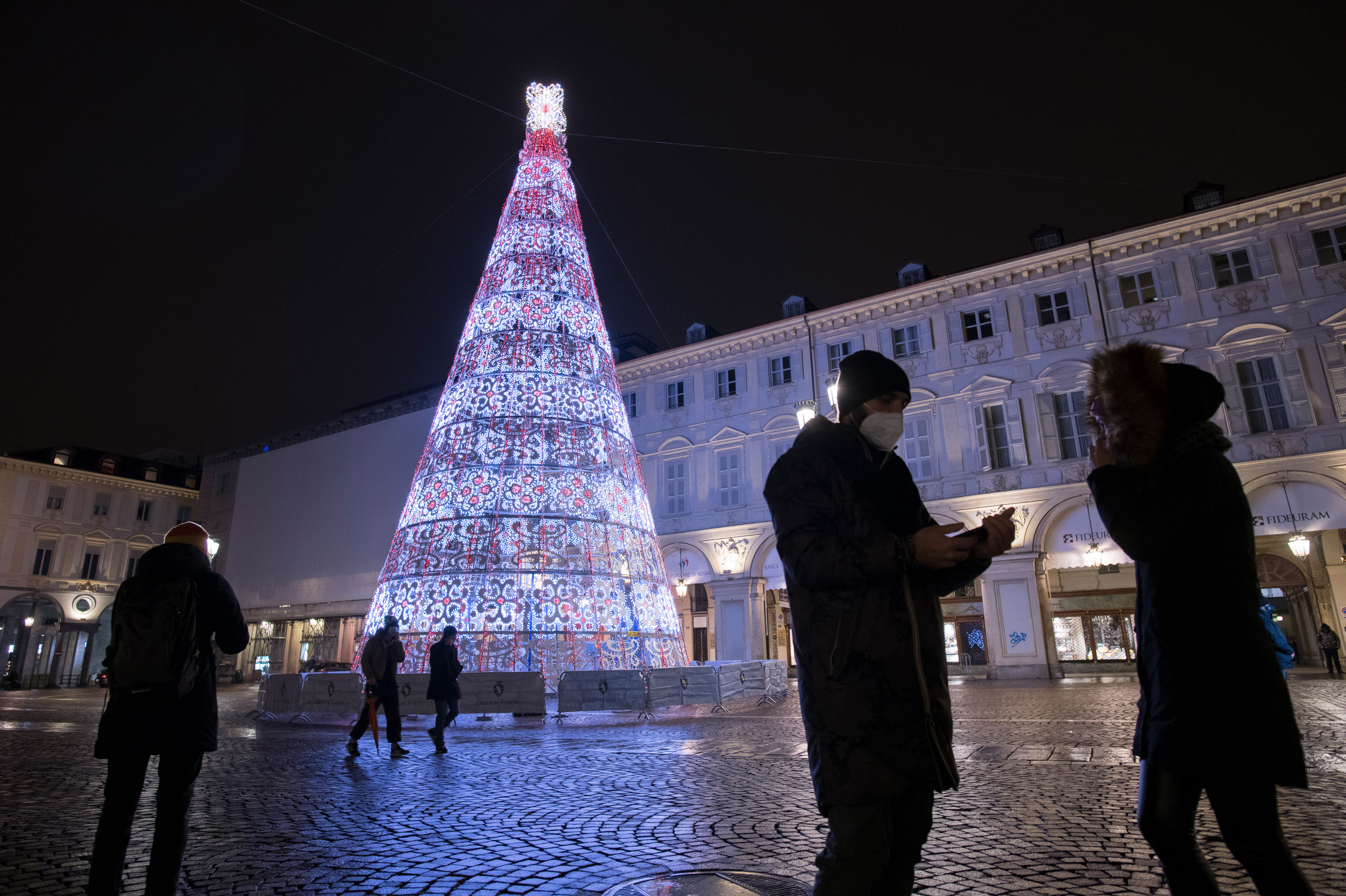 A Christmas tree illuminates Piazza San Carlo in Turin, Italy, on December 2.