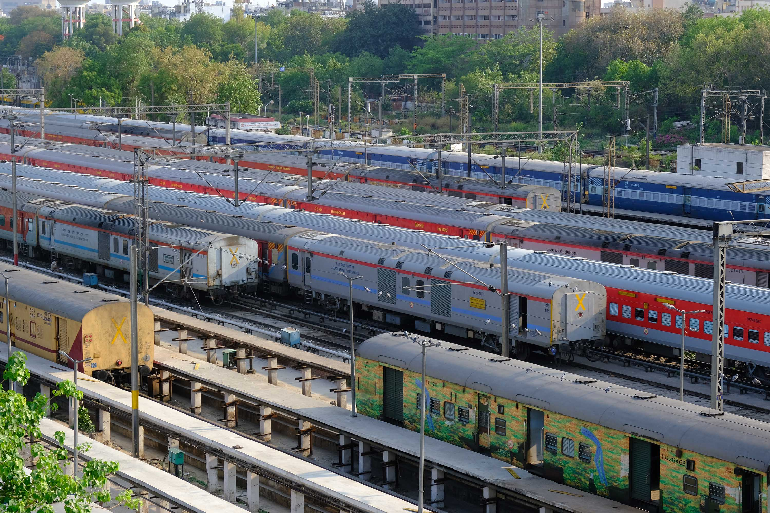 Trains sits idle at the New Delhi Junction railway station during lockdown in New Delhi, India, on Monday, April 27.