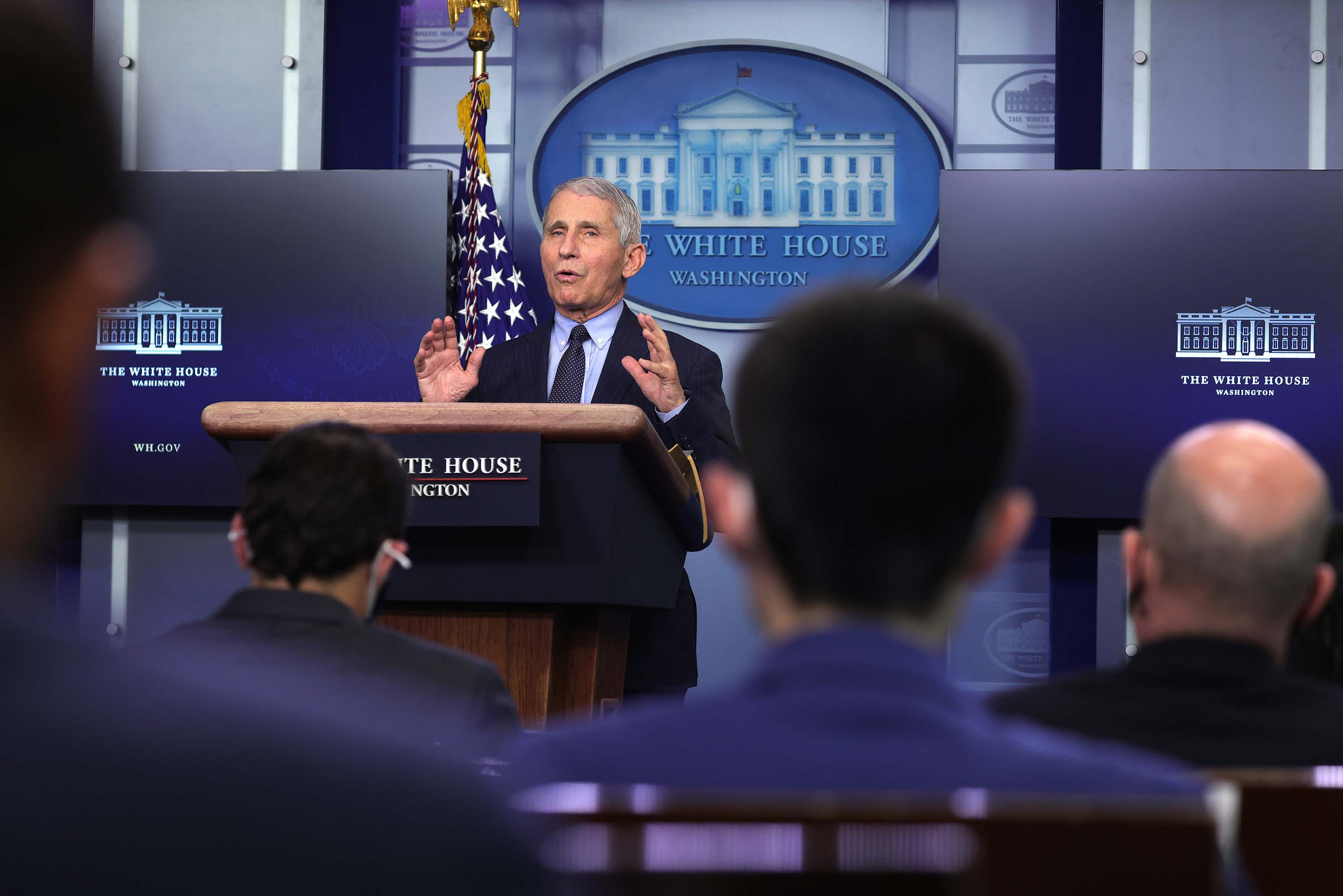 Dr. Anthony Fauci, Director of the National Institute of Allergy and Infectious Diseases, speaks during a White House press briefing at the White House in Washington, DC, on January 21.