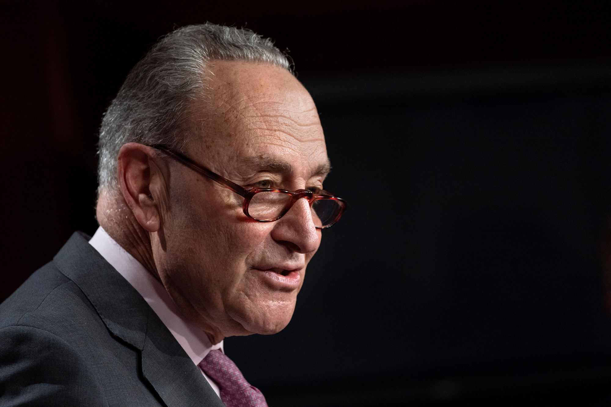Senate Majority Leader Chuck Schumer, D-N.Y., speaks to the media on Tuesday, March 2, 2021, on Capitol Hill in Washington.