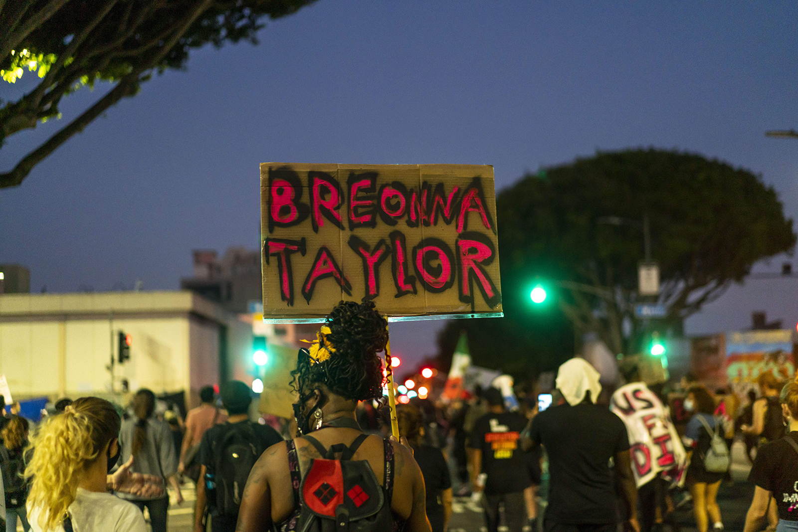 Protesters march in downtown Los Angeles during a demonstration held to demand justice for the death of Breonna Taylor after the results of a grand jury indictment of former Louisville police officer Brett Hankison in Los Angeles, California, on 23 September.