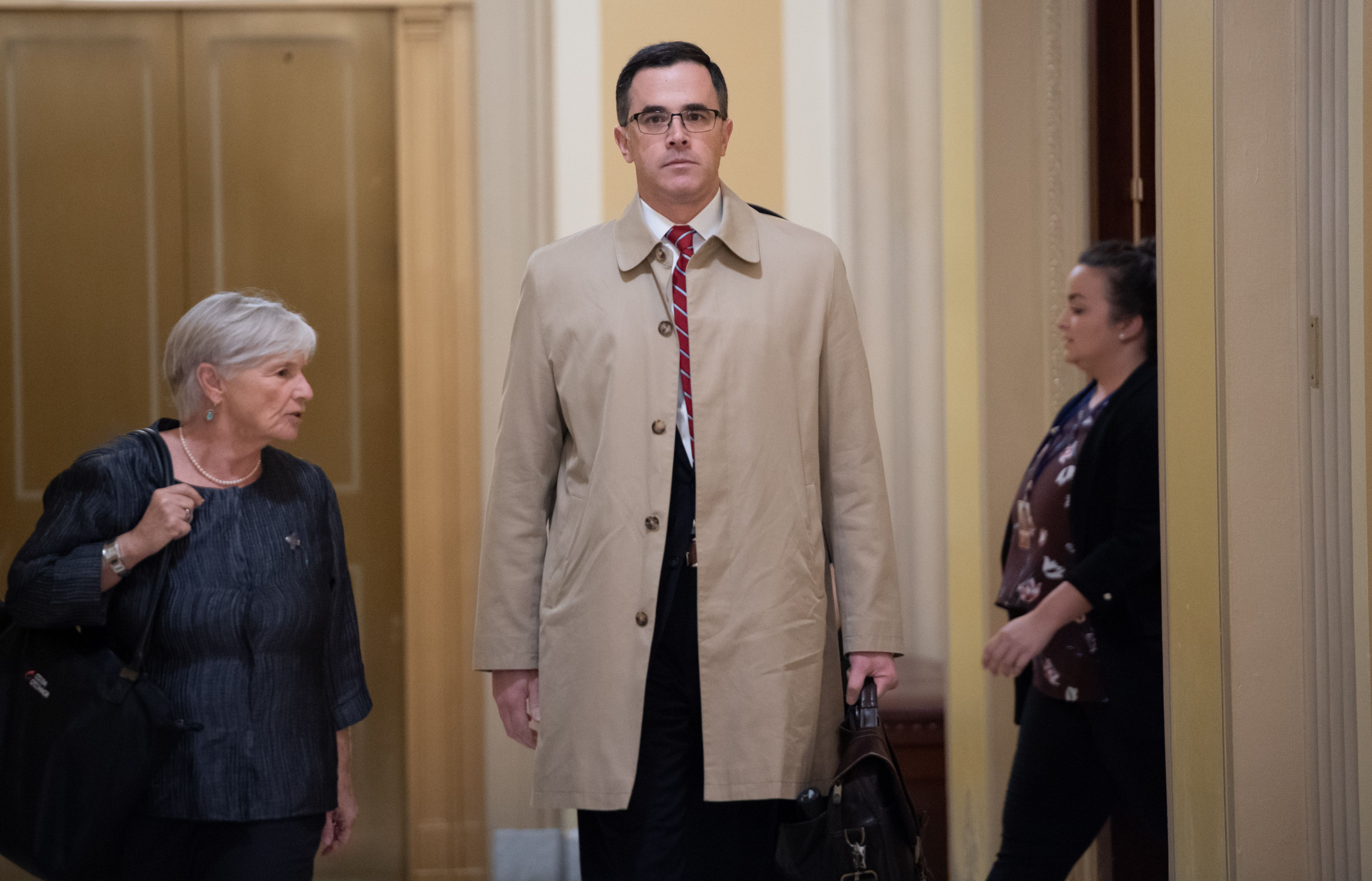 Tim Morrison arrives for a deposition at the US Capitol in Washington, DC, on Oct. 31.