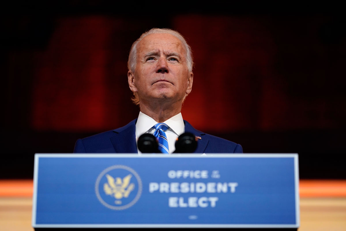 President-elect Joe Biden speaks at The Queen theater on November 25 in Wilmington, Delaware.