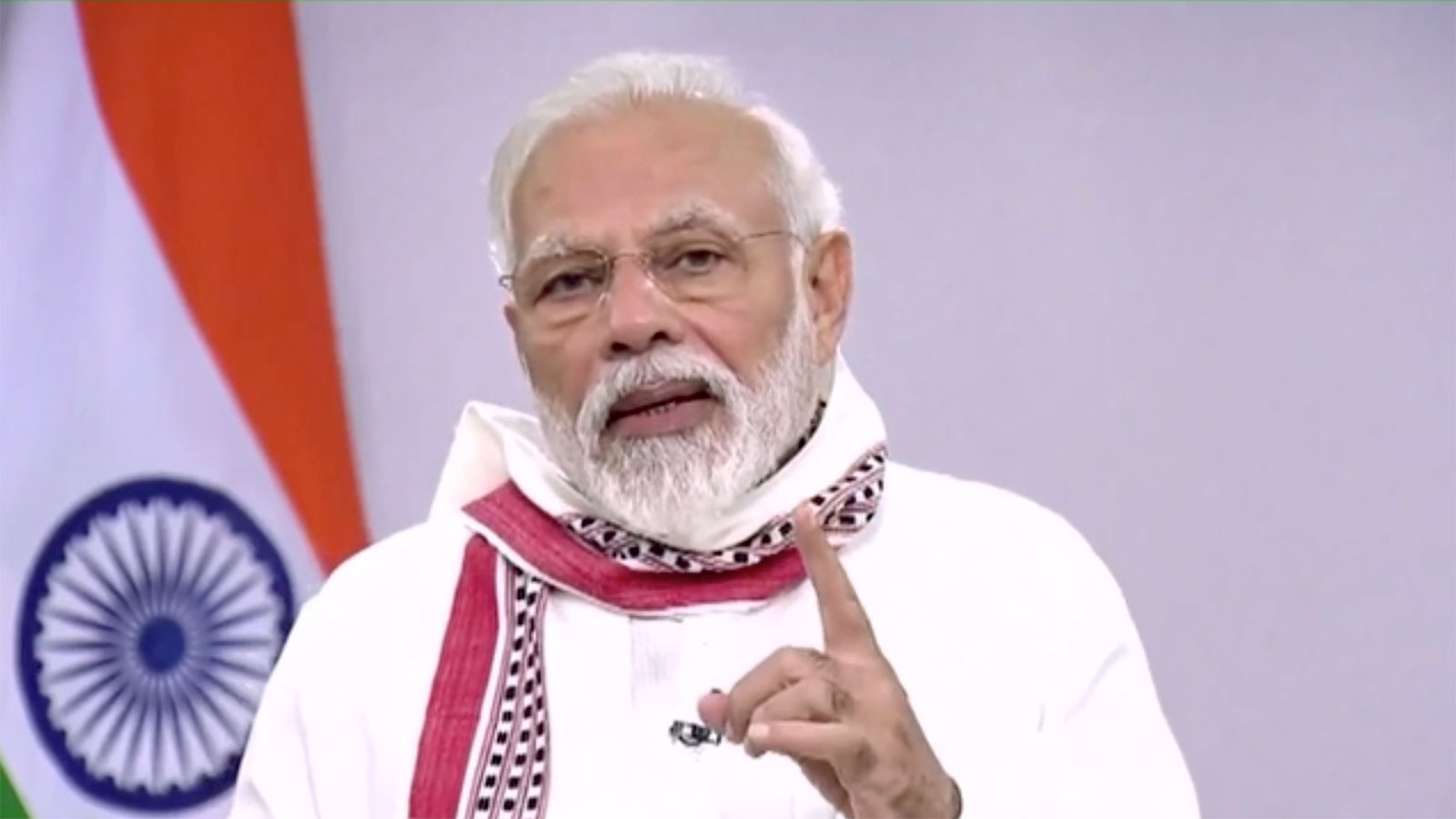 India's Prime Minister Narendra Modi addresses the nation in a pre-recorded message on Tuesday.