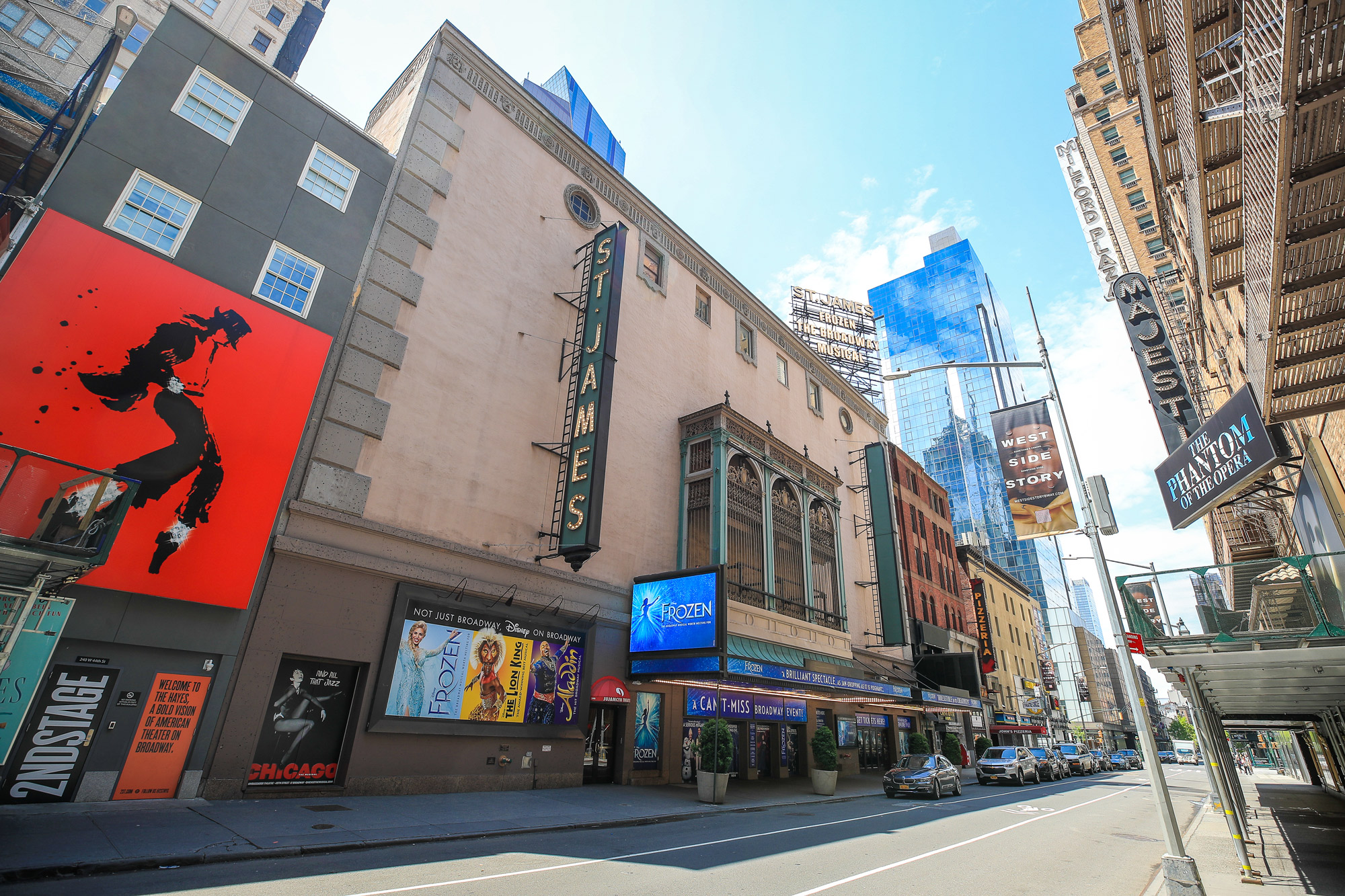 The St. James Theatre remains closed due to the ongoing coronavirus pandemic on May 15 in New York.