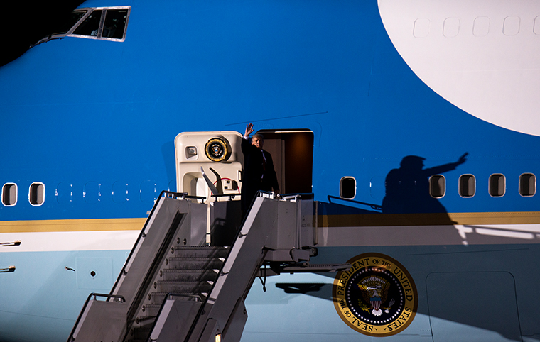 President Donald Trump boarding Air Force One after speaking during a campaign rally at the Duluth International Airport on September 30, 2020 in Duluth, Minnesota.