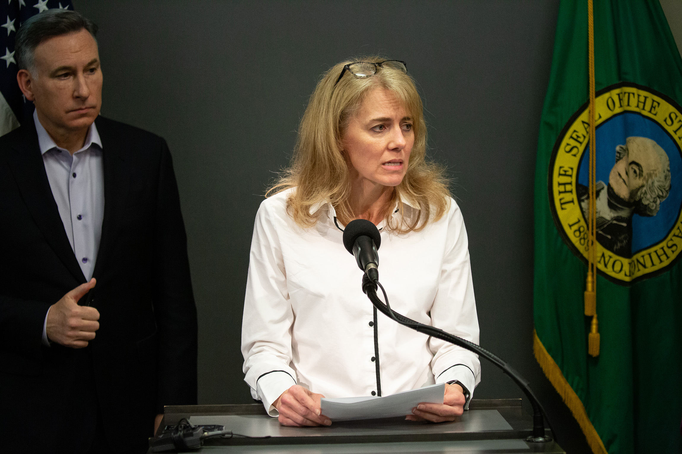 Dr. Kathy Lofy, a state health officer with the Washington State Department of Health, speaks during a press conference on February 29, in Seattle, Washington.