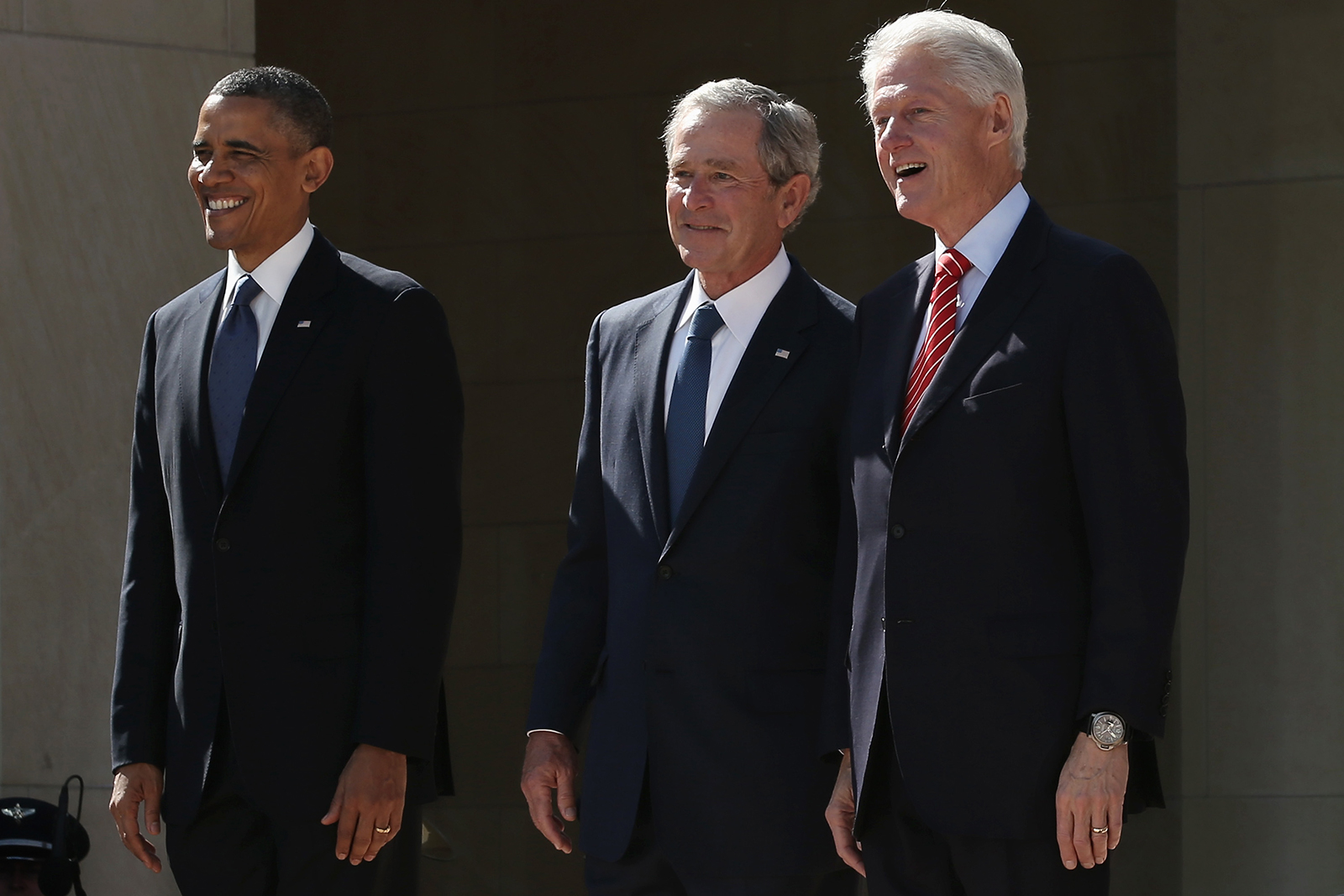 From left to right, former presidents Barack Obama, George W. Bush and Bill Clinton attend the opening ceremony of the George W. Bush Presidential Center in Dallas, Texas, on April 25, 2013.