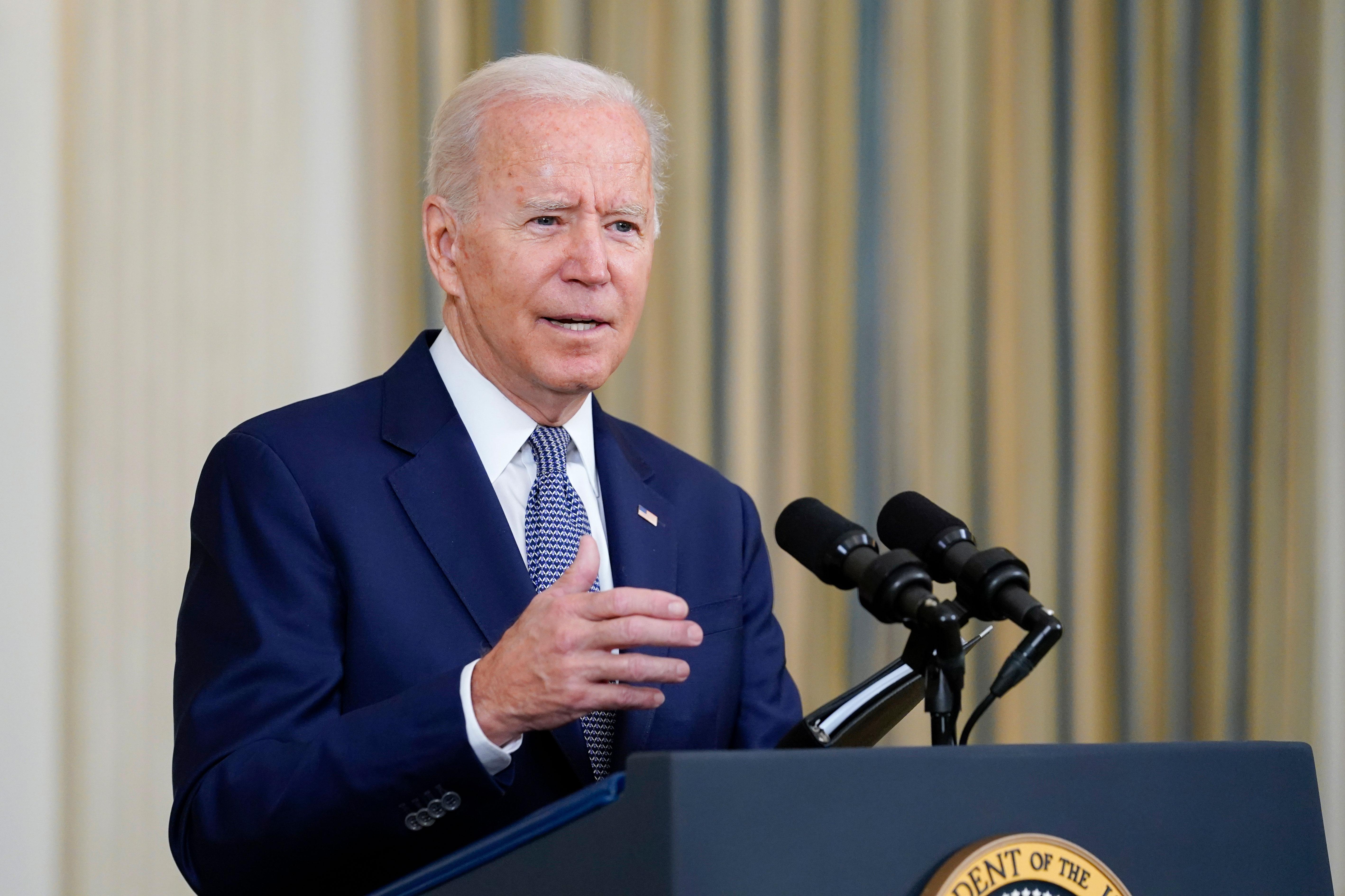 President Joe Biden speaks from the White House on September 3.