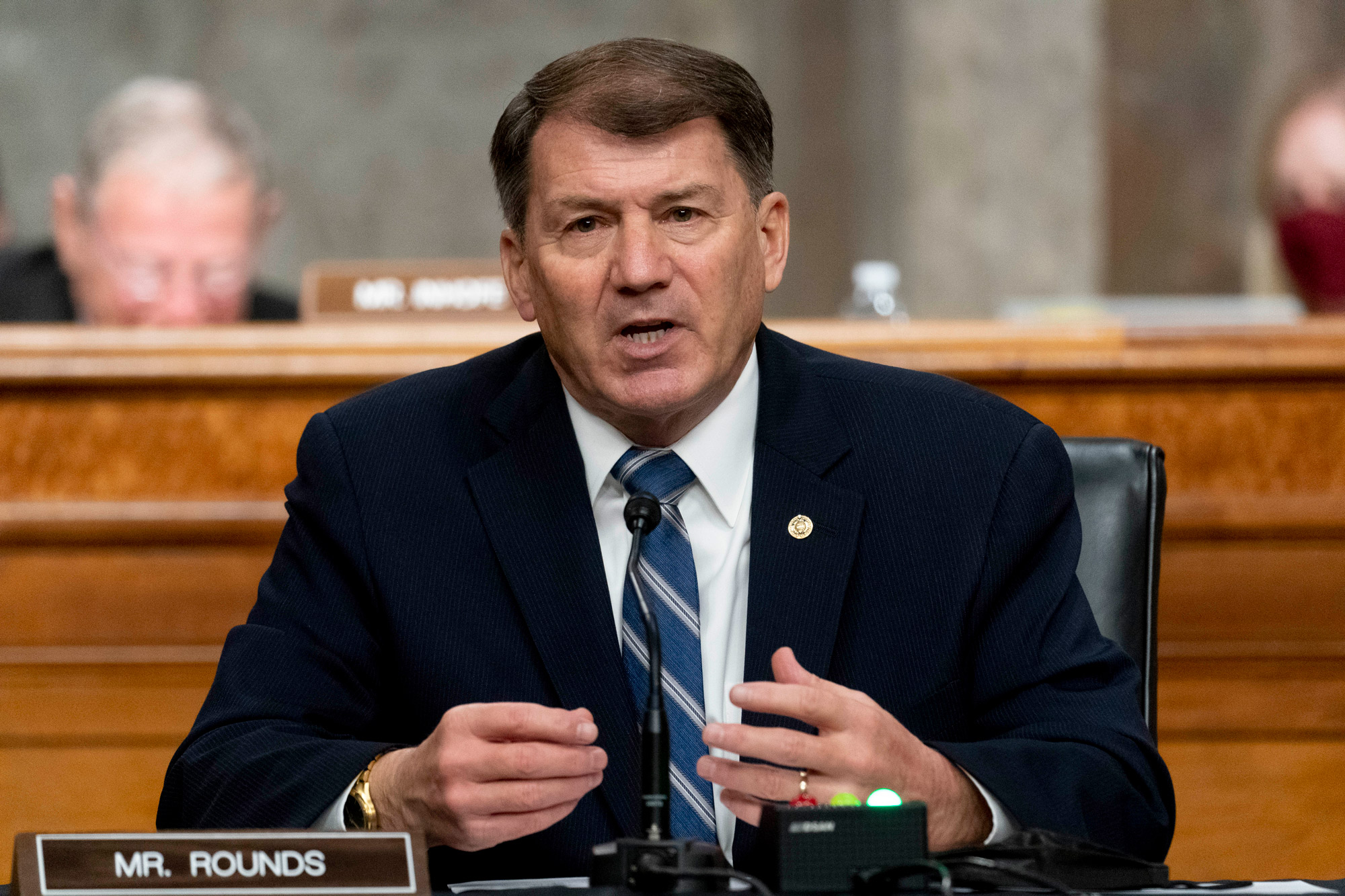 Sen. Mike Rounds speaks during a hearing on Capitol Hill on March 25 in Washington, DC.