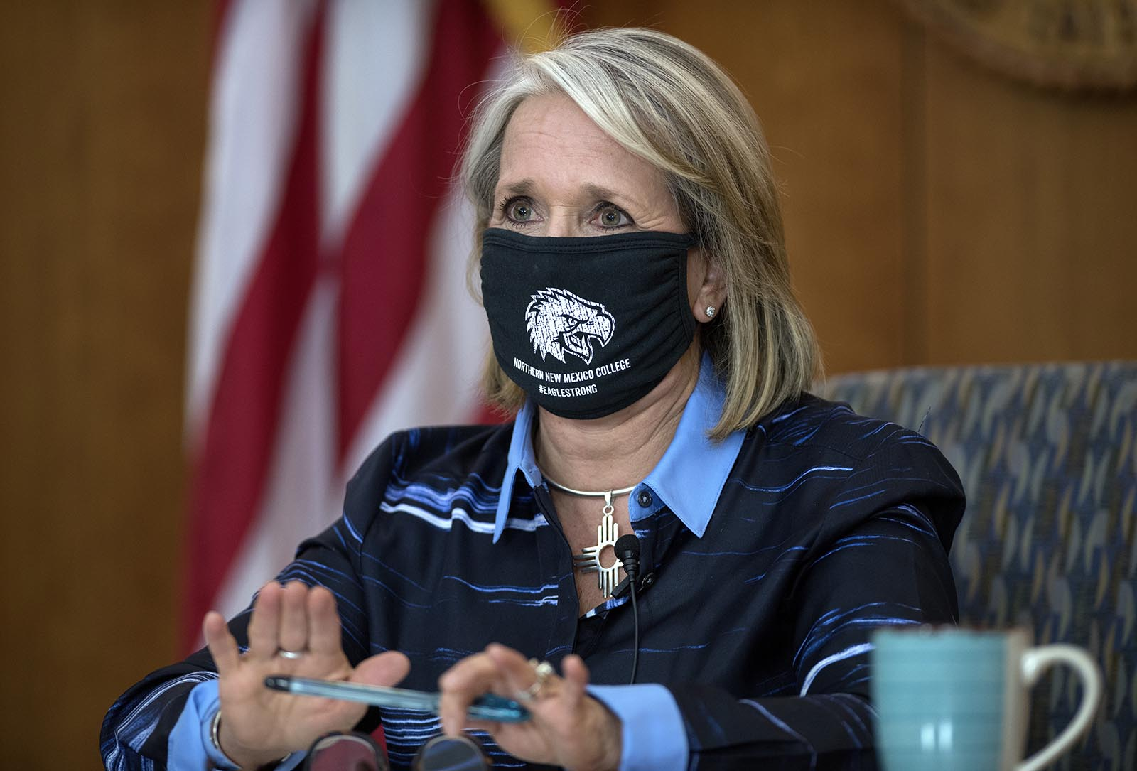 New Mexico Gov. Michelle Lujan Grisham gives her weekly update on Covid-19 and the state's effort to contain it during a virtual news conference from the state Capitol in Santa Fe, New Mexico, on Thursday, July 23.