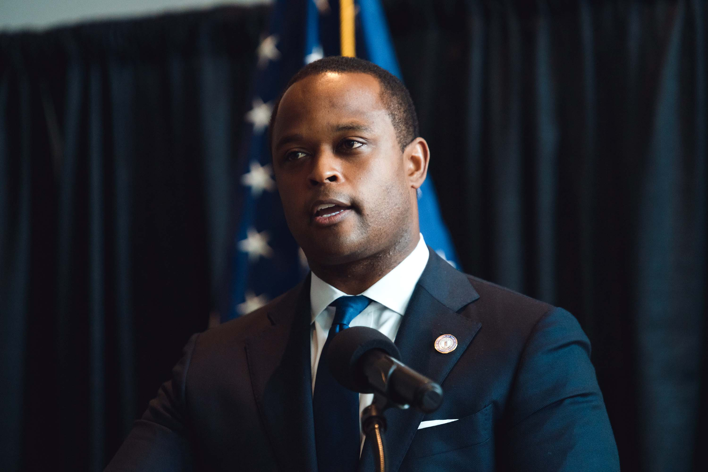 Kentucky Attorney General Daniel Cameron speaks during a press conference in Frankfort, Kentucky on September 23, following the return of a grand jury investigation into the death of Breonna Taylor.