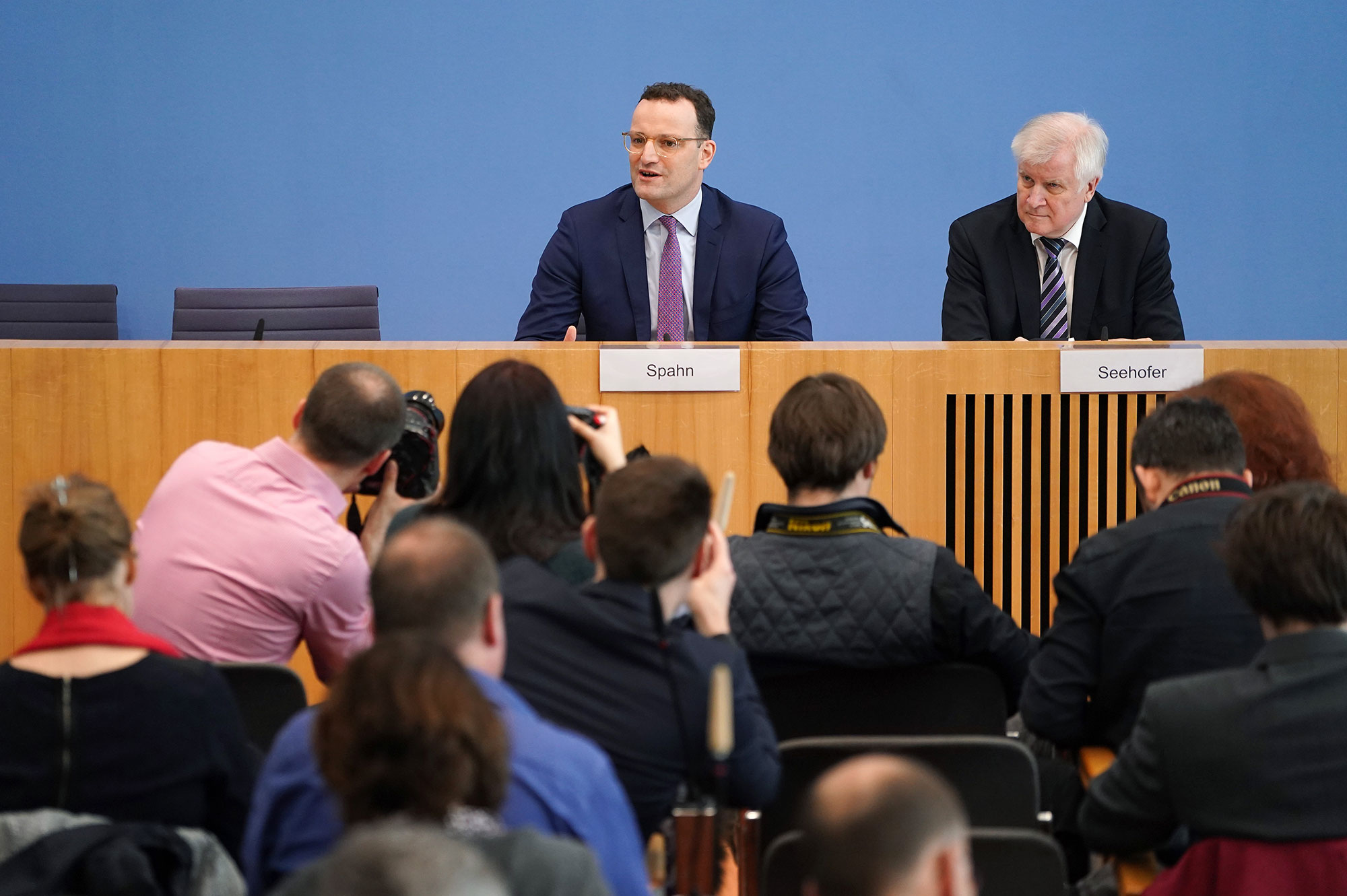 GermanHealth Minister Jens Spahn and Interior Minister Horst Seehofer speak to the media about the spread of the coronavirus in Germany on February 27.