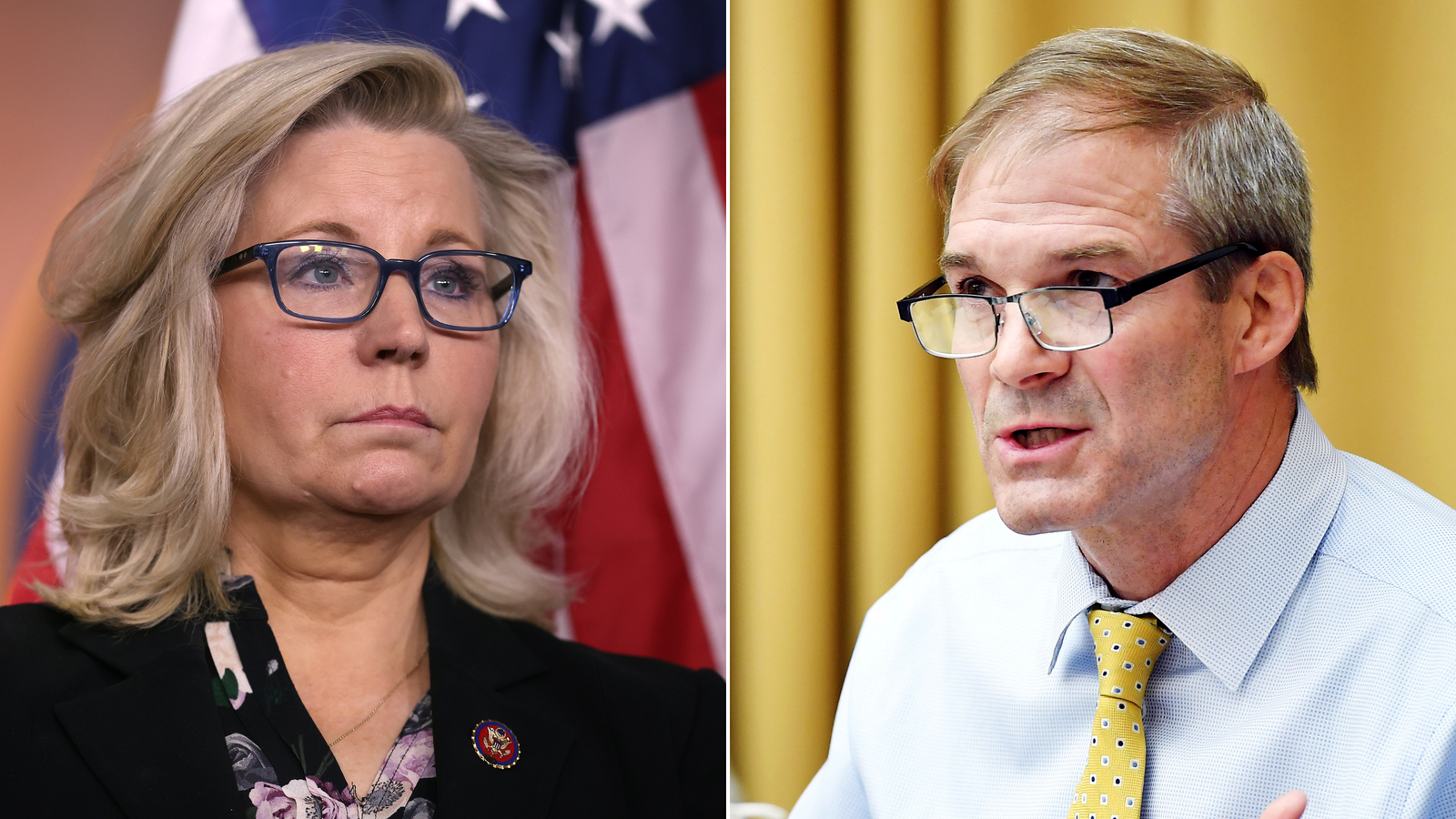 From left, Republican Conference Chair Liz Cheney and Rep. Jim Jordan