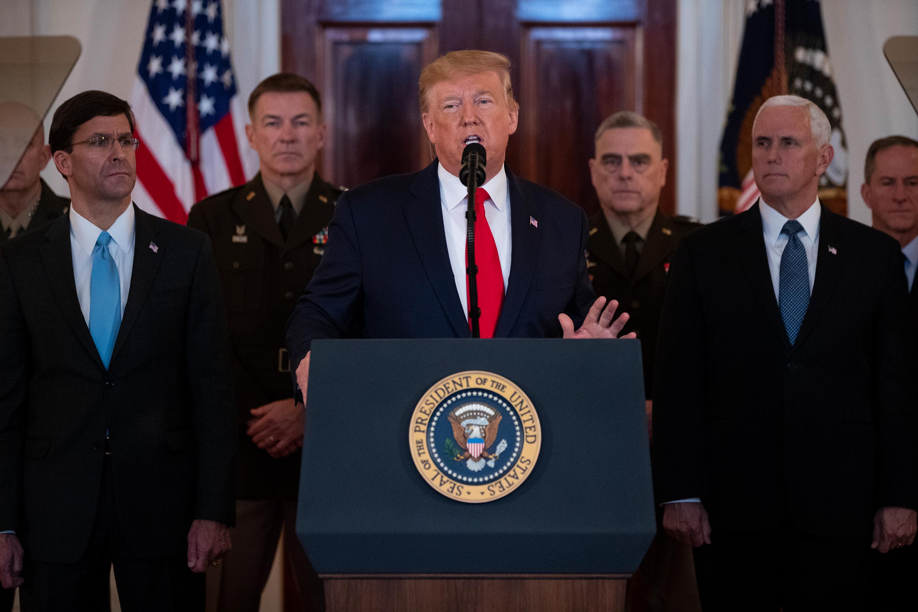 President Donald Trump addresses the nation from the White House on the ballistic missile strike that Iran launched against Iraqi air bases housing U.S. troops, Wednesday, January 8, in Washington.