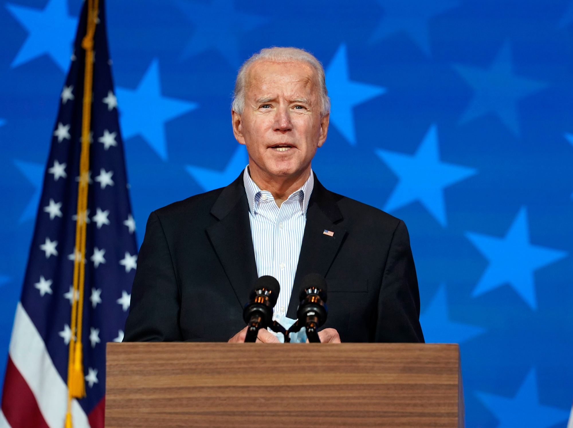 Democratic presidential candidate Joe Biden speaks on November 5 in Wilmington, Delaware.