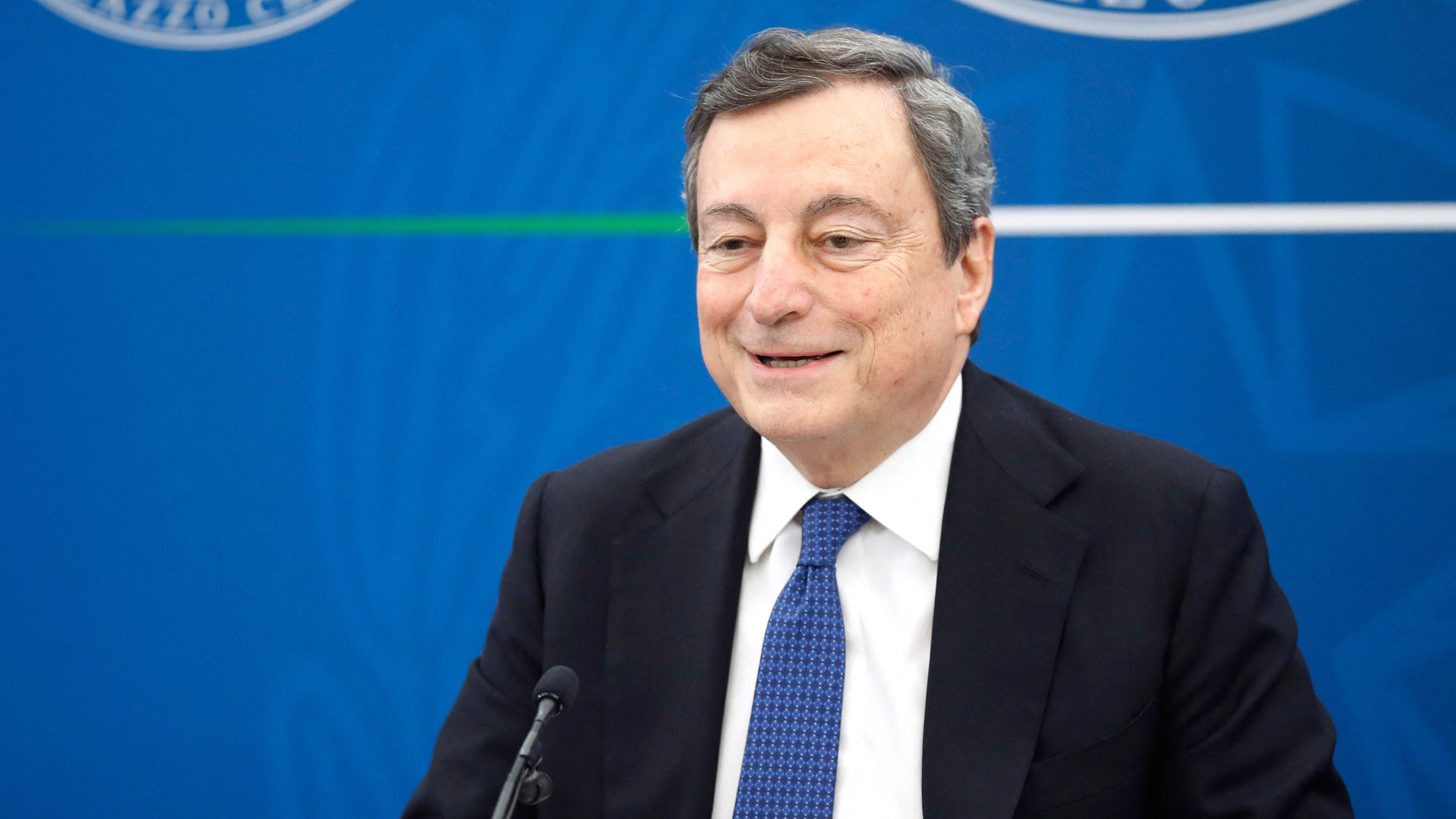 Italian Prime Minister Mario Draghi speaks during a press conference on March 26, in Rome.