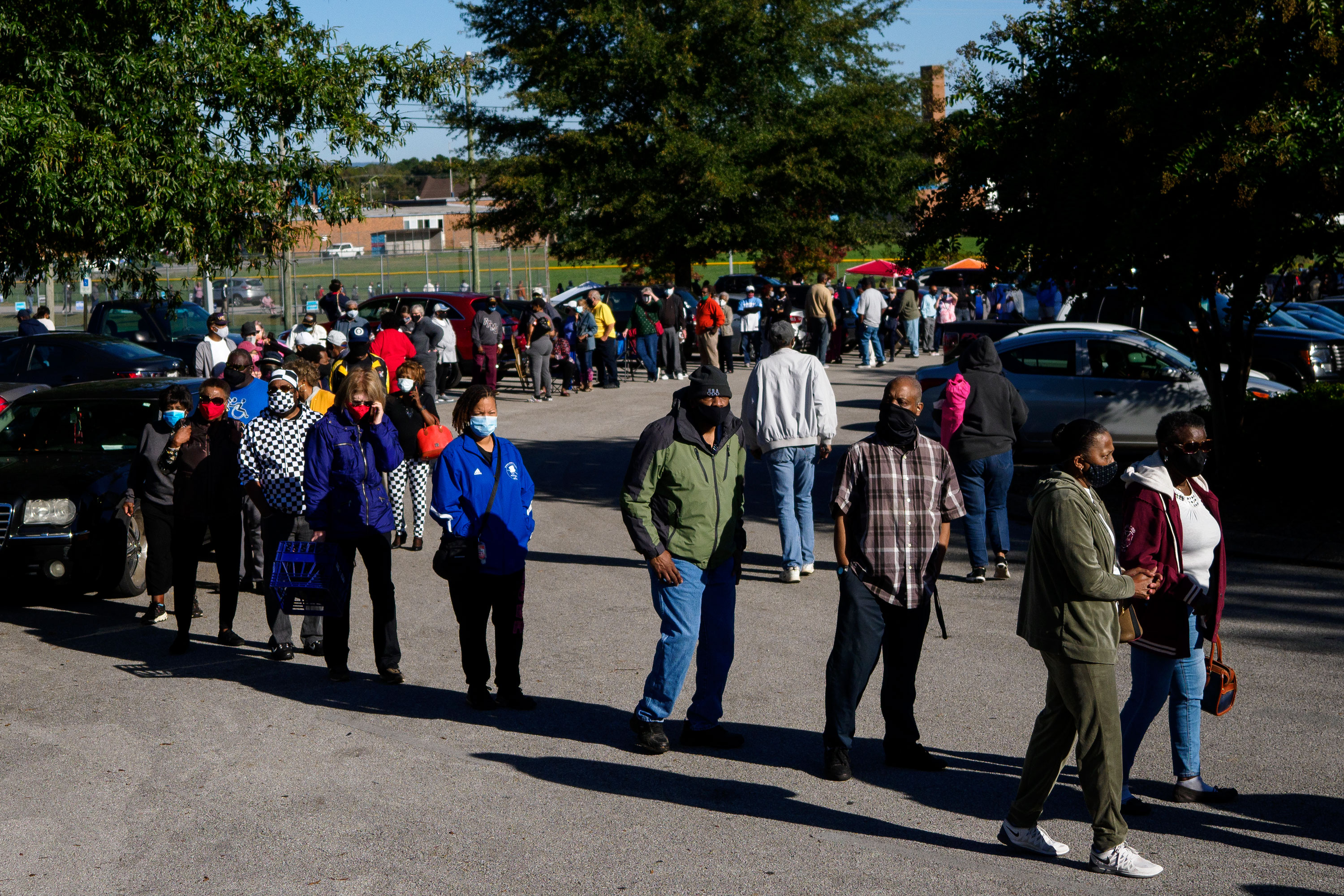 People in Chattanooga, Tennessee, wait to vote on October 14.