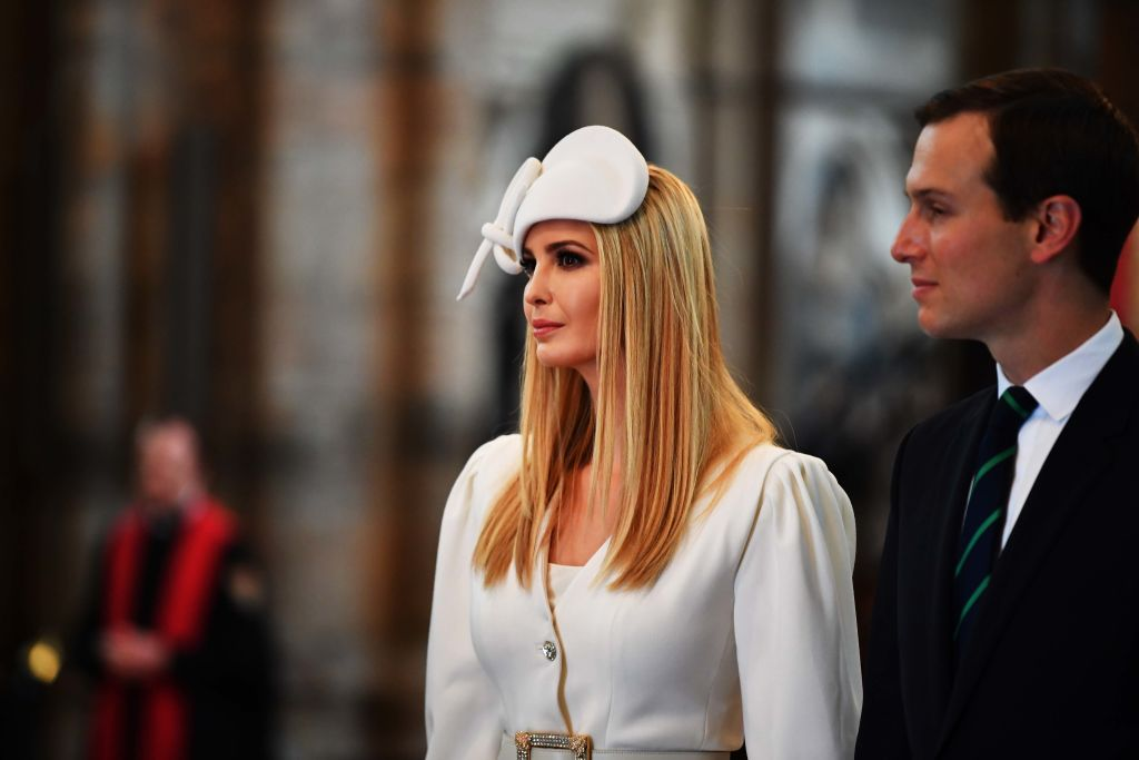 LONDON, ENGLAND - JUNE 03: Ivanka Trump and Jared Kushner look on as US President Donald Trump and First Lady Melania Trump lay a wreath at the Tomb of the Unknown Warrior during their visit to Westminster Abbey on June 03, 2019 in London, England.