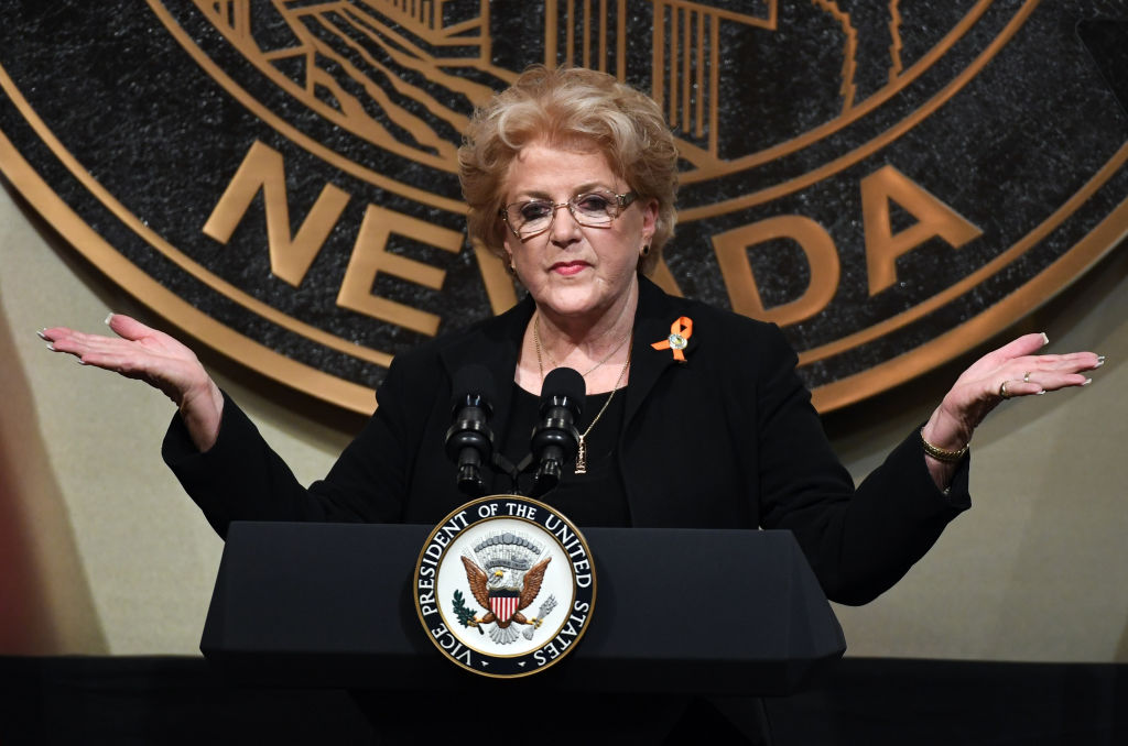 Las Vegas Mayor Carolyn Goodman speaks at Las Vegas City Hall in Nevada on October 7, 2017.