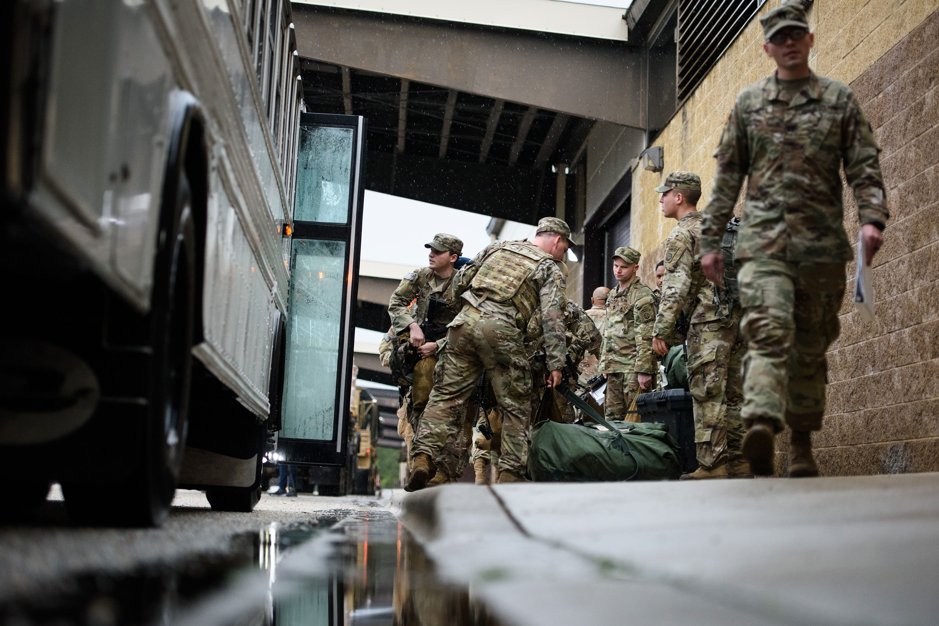 Soldiers from the 82d Airborne Division arrive at Fort Bragg, North Carolina, on January 4.