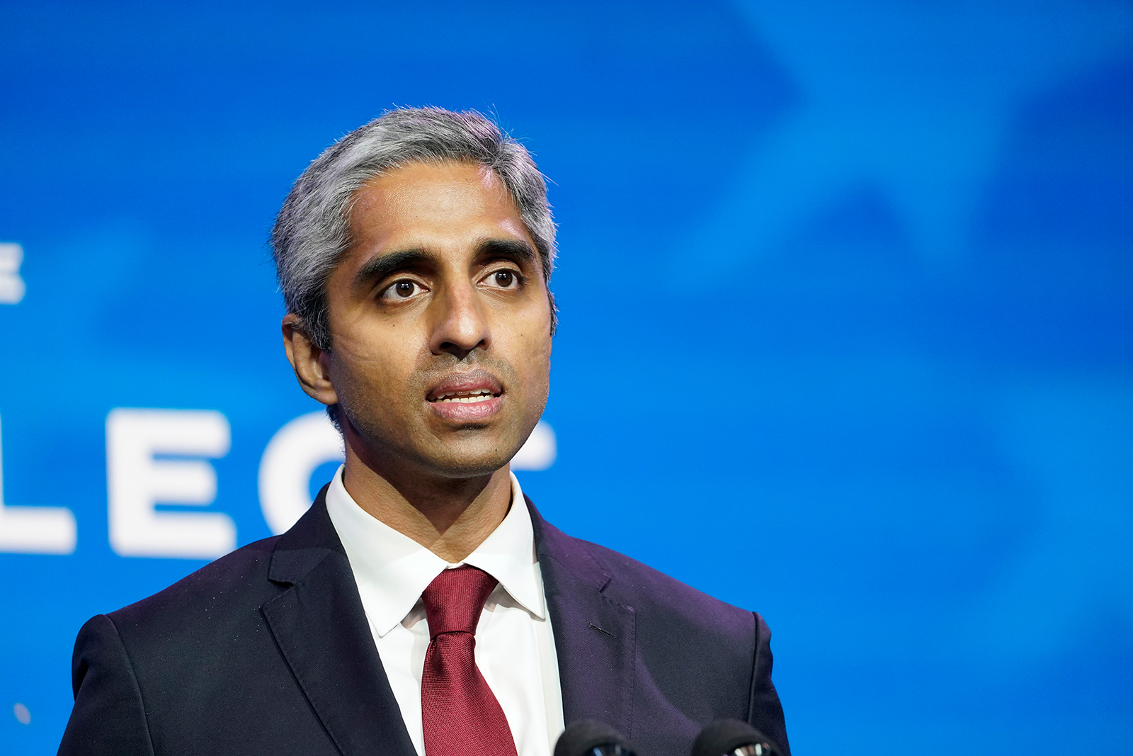 Dr. Vivek Murthy speaks during an event at The Queen Theater in Wilmington, Delaware, on December 8, 2020.