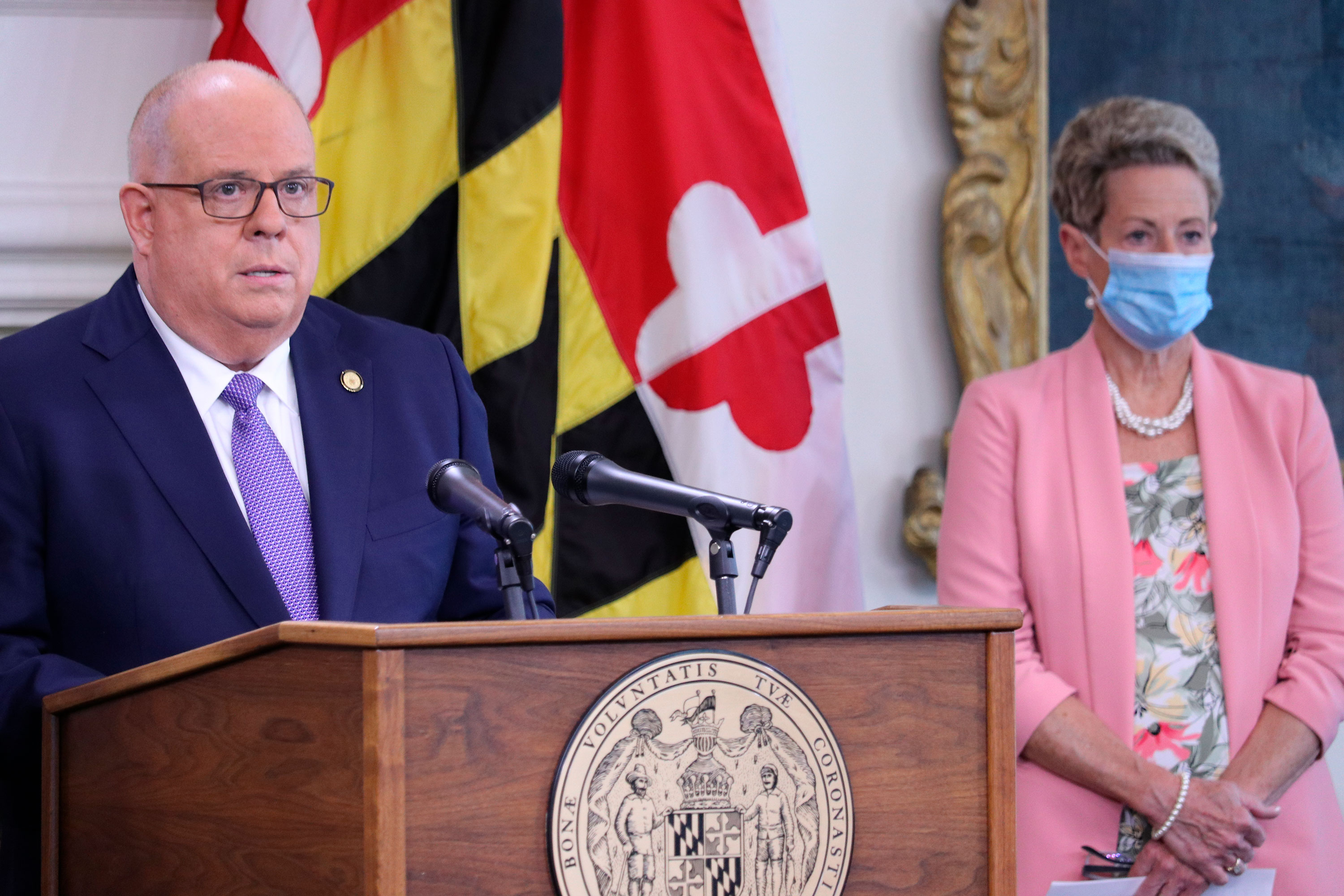 Maryland Gov. Larry Hogan announces that all of the state's school systems meet safety standards to reopen for some in-person instruction during a news conference on August 27 in Annapolis, Maryland.