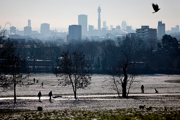 A view of the skyline of London from Hampstead Heath on January 25, 2021, as Londoners continue to live under Tier 4 lockdown restrictions.