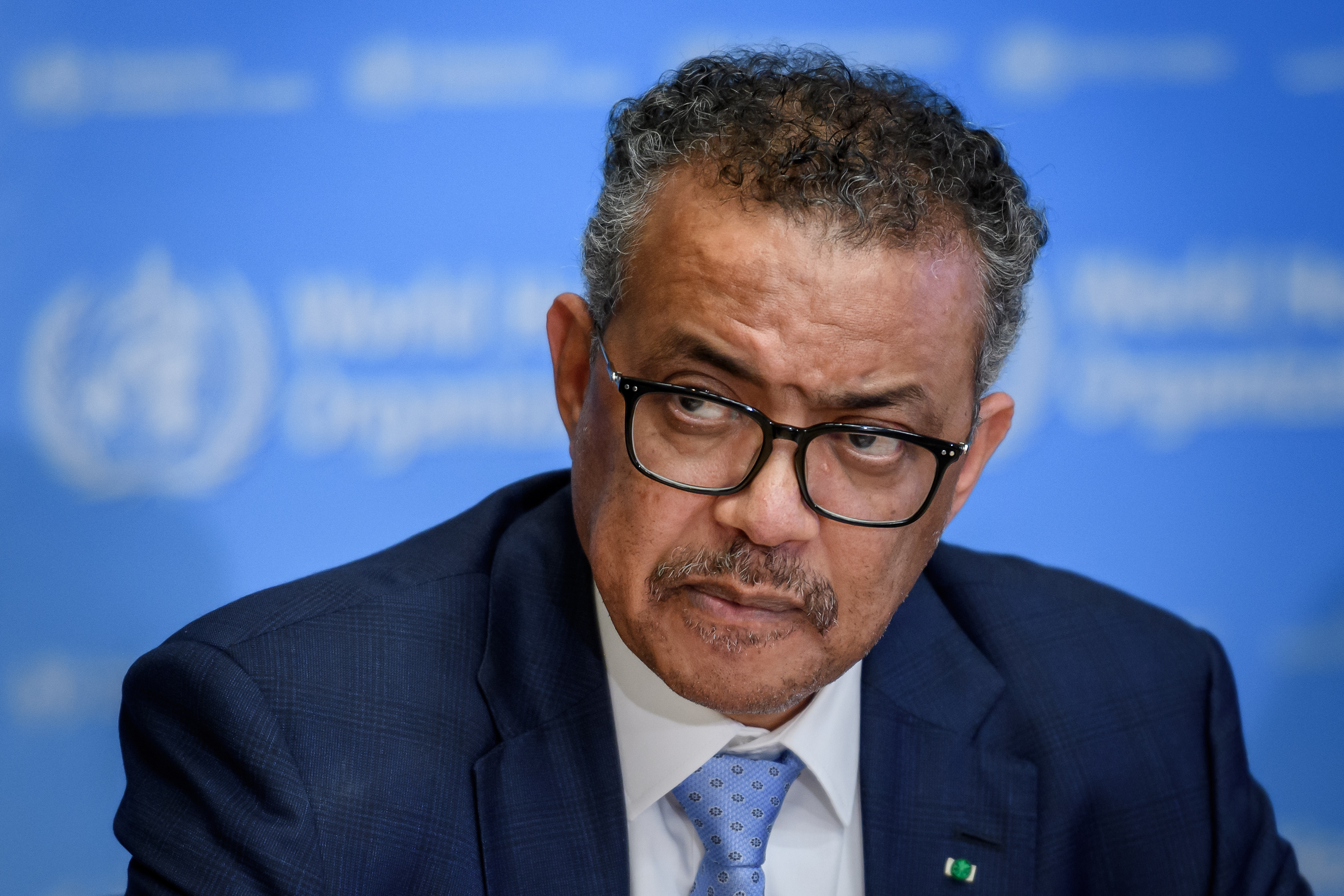 World Health Organization Director-General Tedros Adhanom Ghebreyesus attends a daily press briefing on the newcoronavirus dubbed COVID-19, at the WHO headquaters on March 2, 2020 in Geneva.