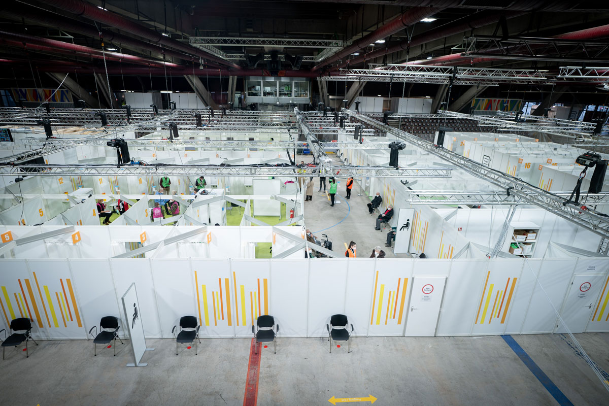 A general view shows the Erika-Hess ice stadium which serves as the second vaccination center against the novel coronavirus in Berlin, Germany on January 14.